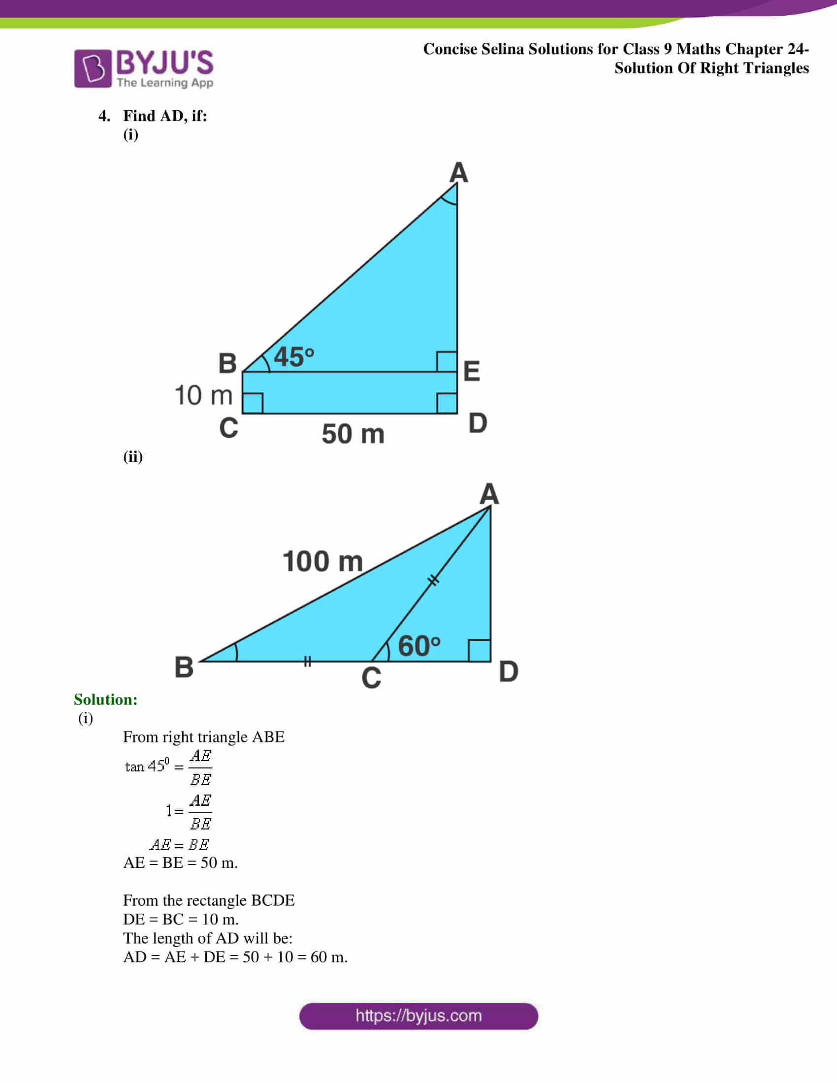 Concise Selina Solutions Class 9 Maths Chapter 24 Solution Of Right Triangles part 05