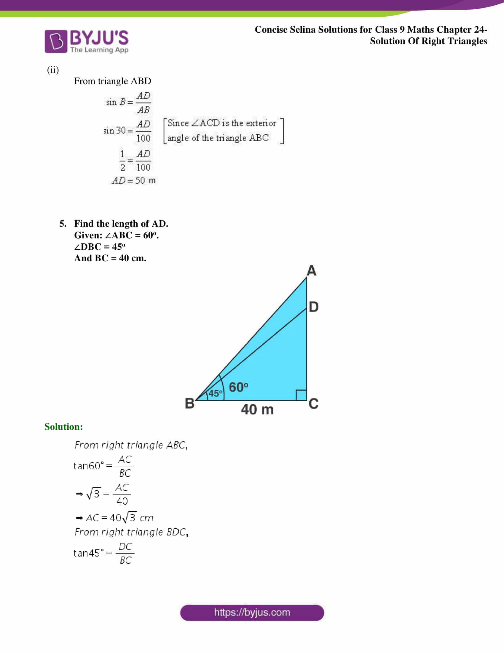 Concise Selina Solutions Class 9 Maths Chapter 24 Solution Of Right Triangles part 06