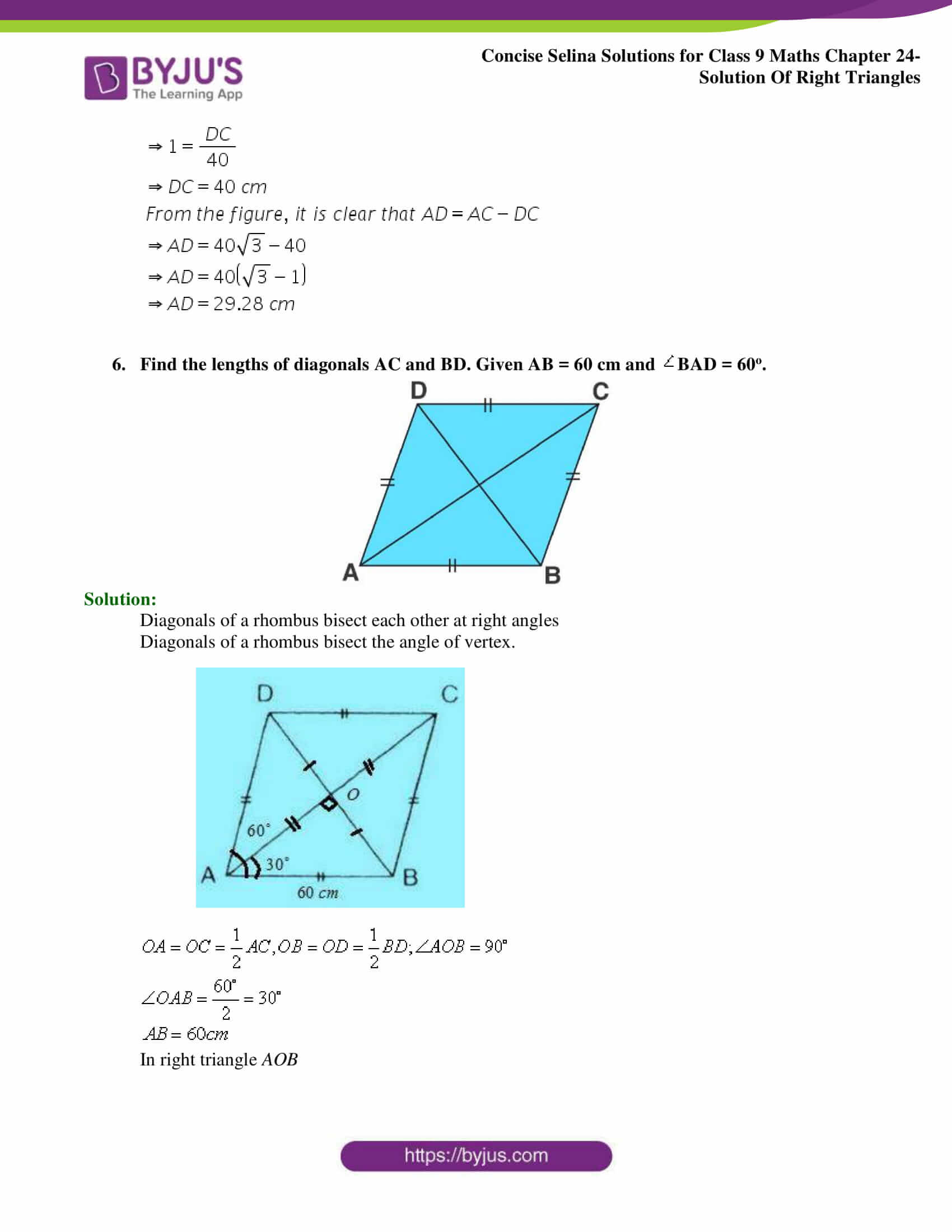 Concise Selina Solutions Class 9 Maths Chapter 24 Solution Of Right Triangles part 07