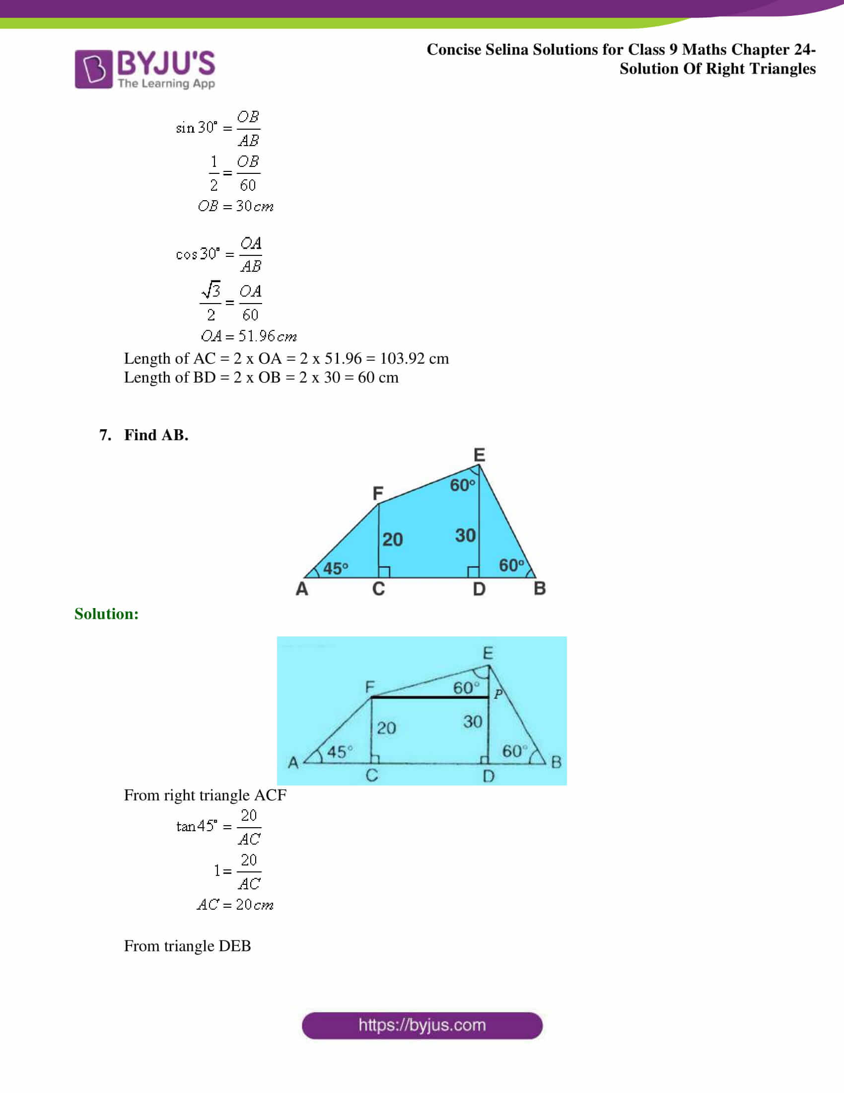 Concise Selina Solutions Class 9 Maths Chapter 24 Solution Of Right Triangles part 08