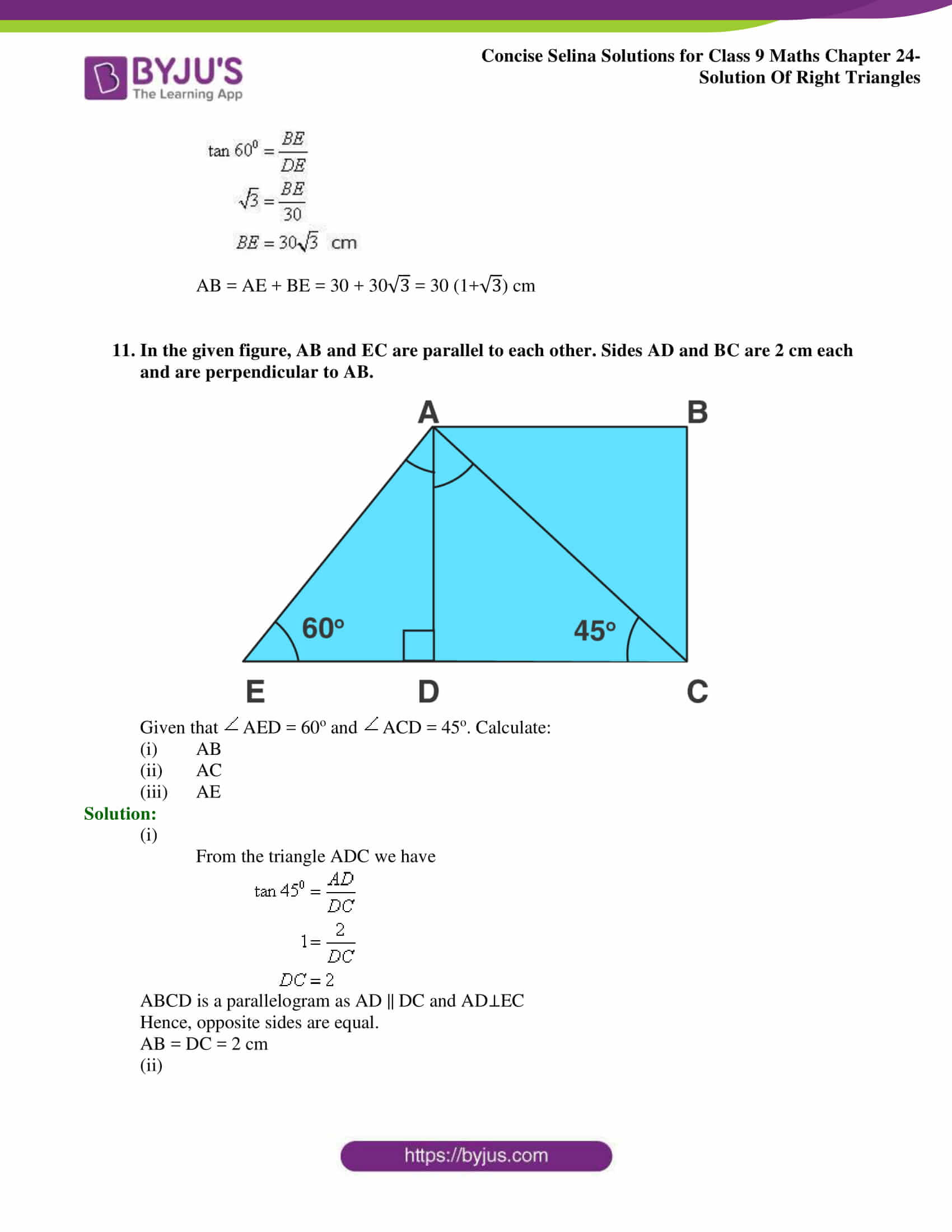 Concise Selina Solutions Class 9 Maths Chapter 24 Solution Of Right Triangles part 12