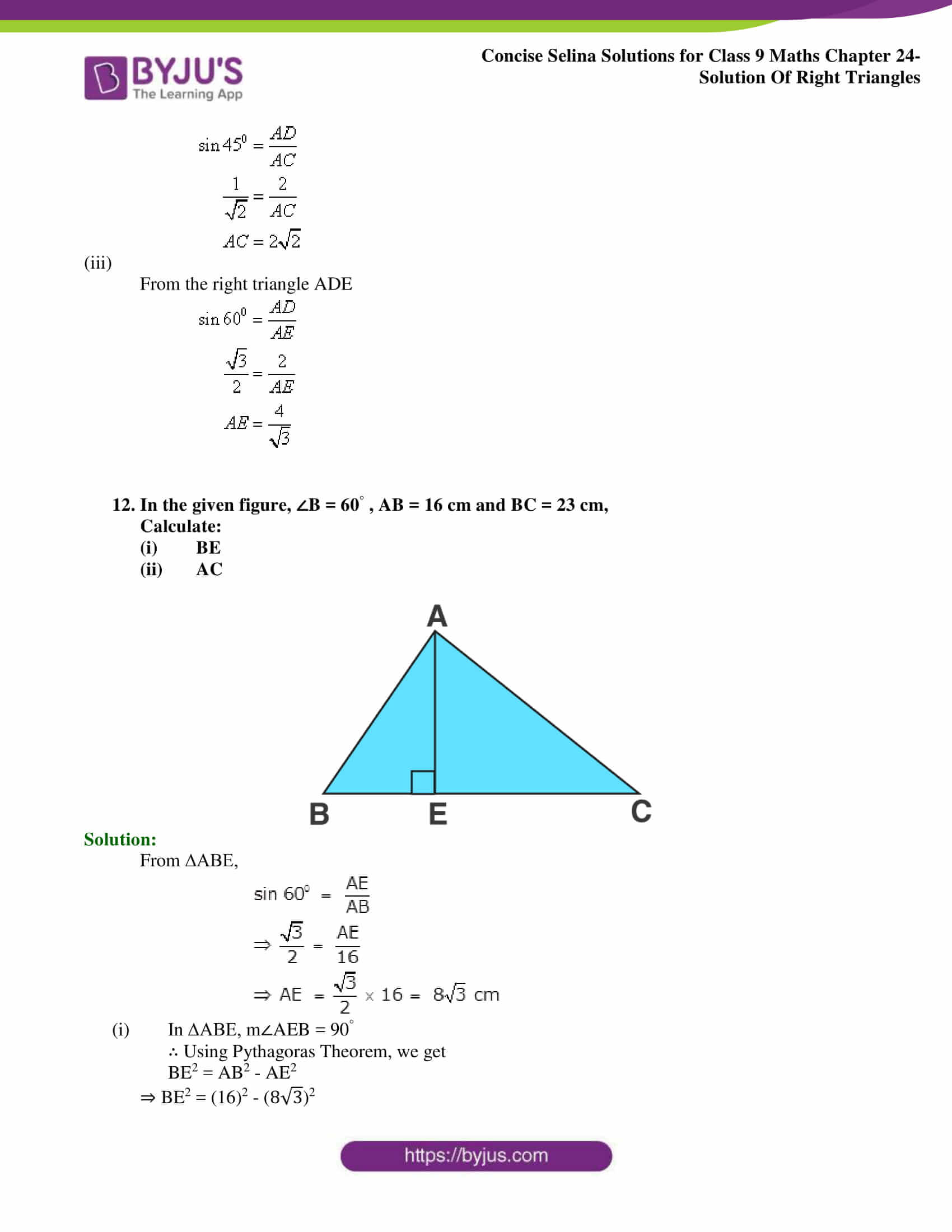 Concise Selina Solutions Class 9 Maths Chapter 24 Solution Of Right Triangles part 13