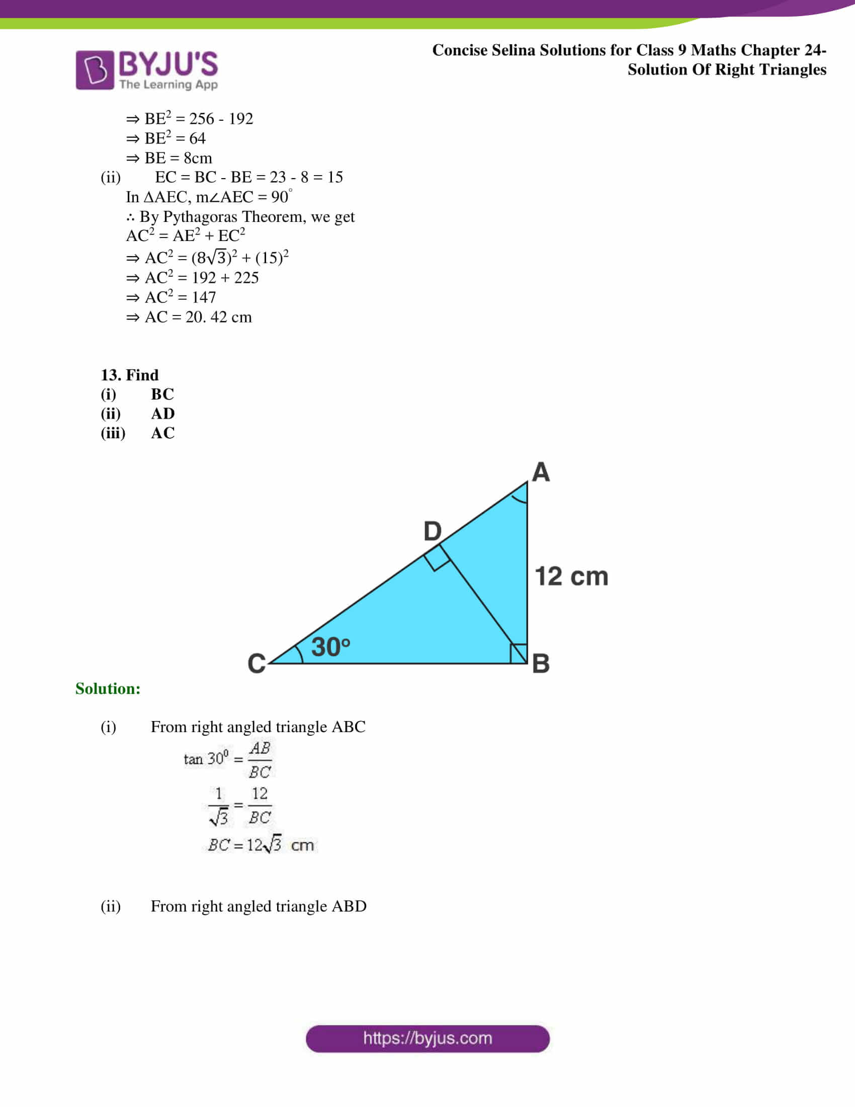 Concise Selina Solutions Class 9 Maths Chapter 24 Solution Of Right Triangles part 14
