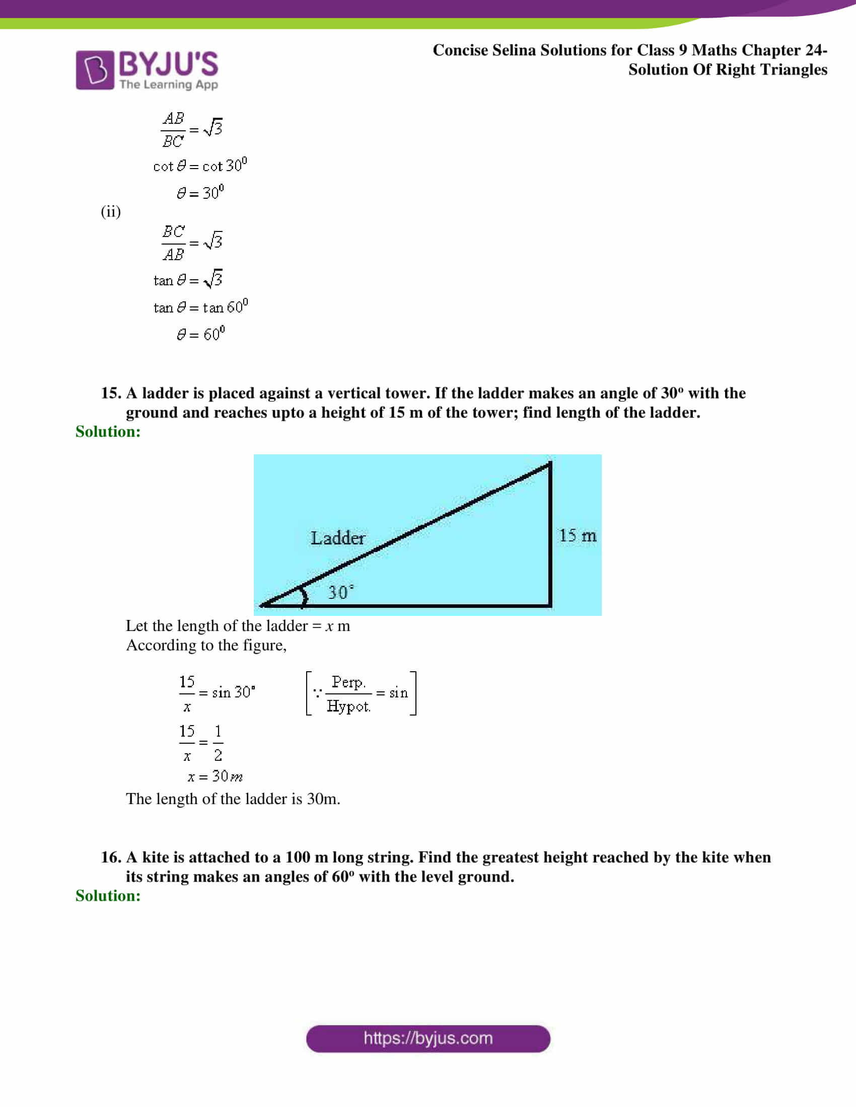 Concise Selina Solutions Class 9 Maths Chapter 24 Solution Of Right Triangles part 16