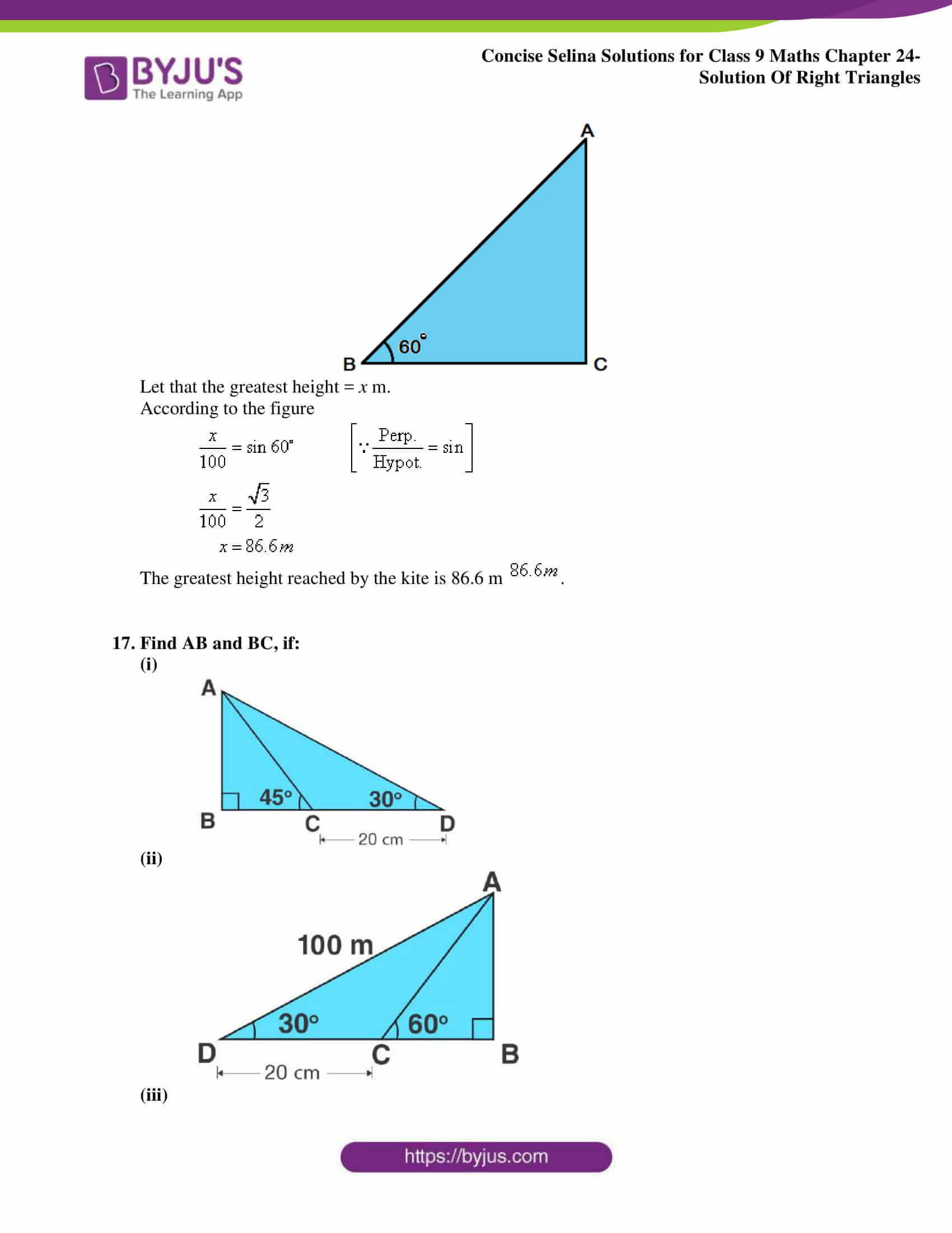 Concise Selina Solutions Class 9 Maths Chapter 24 Solution Of Right Triangles part 17