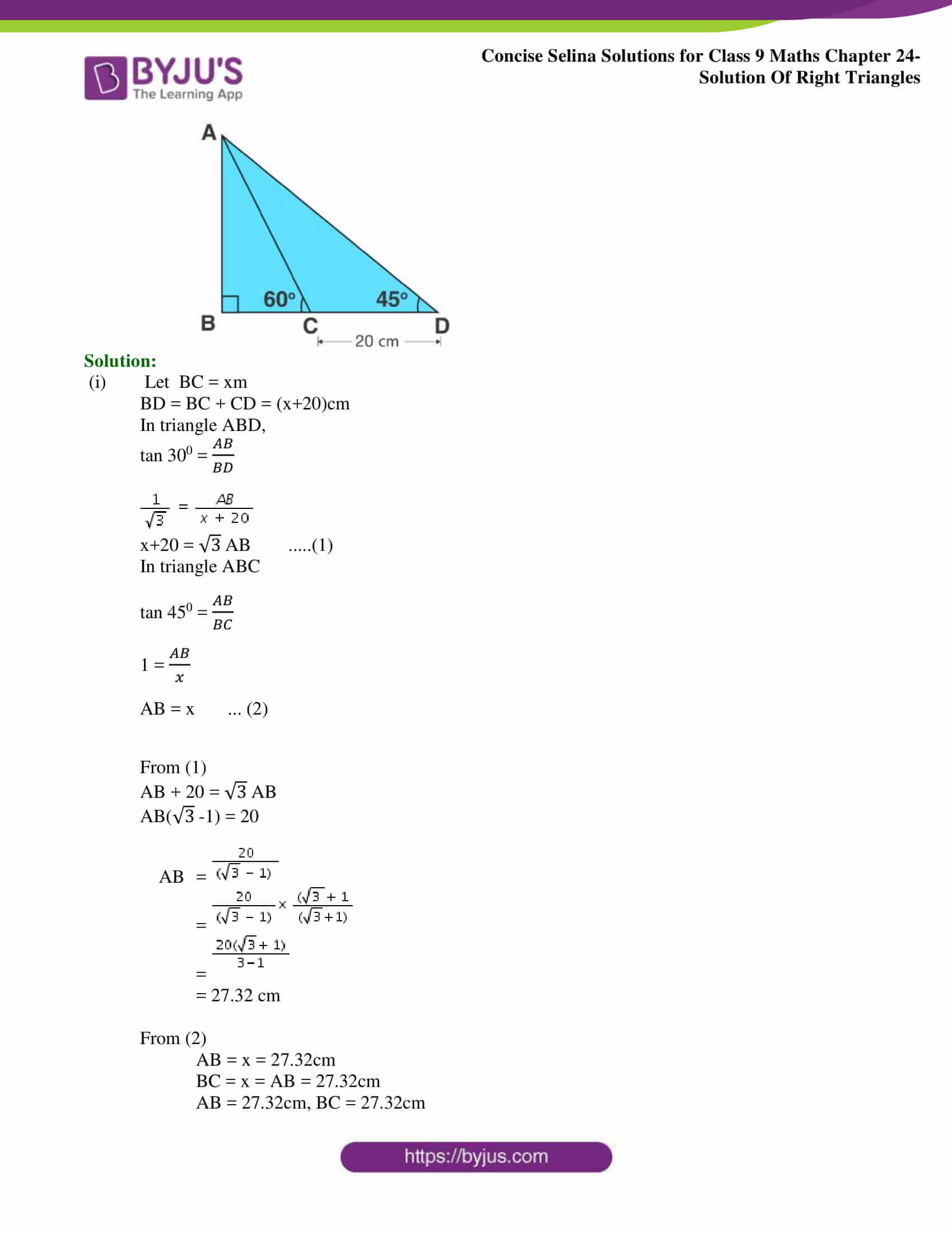 Concise Selina Solutions Class 9 Maths Chapter 24 Solution Of Right Triangles part 18
