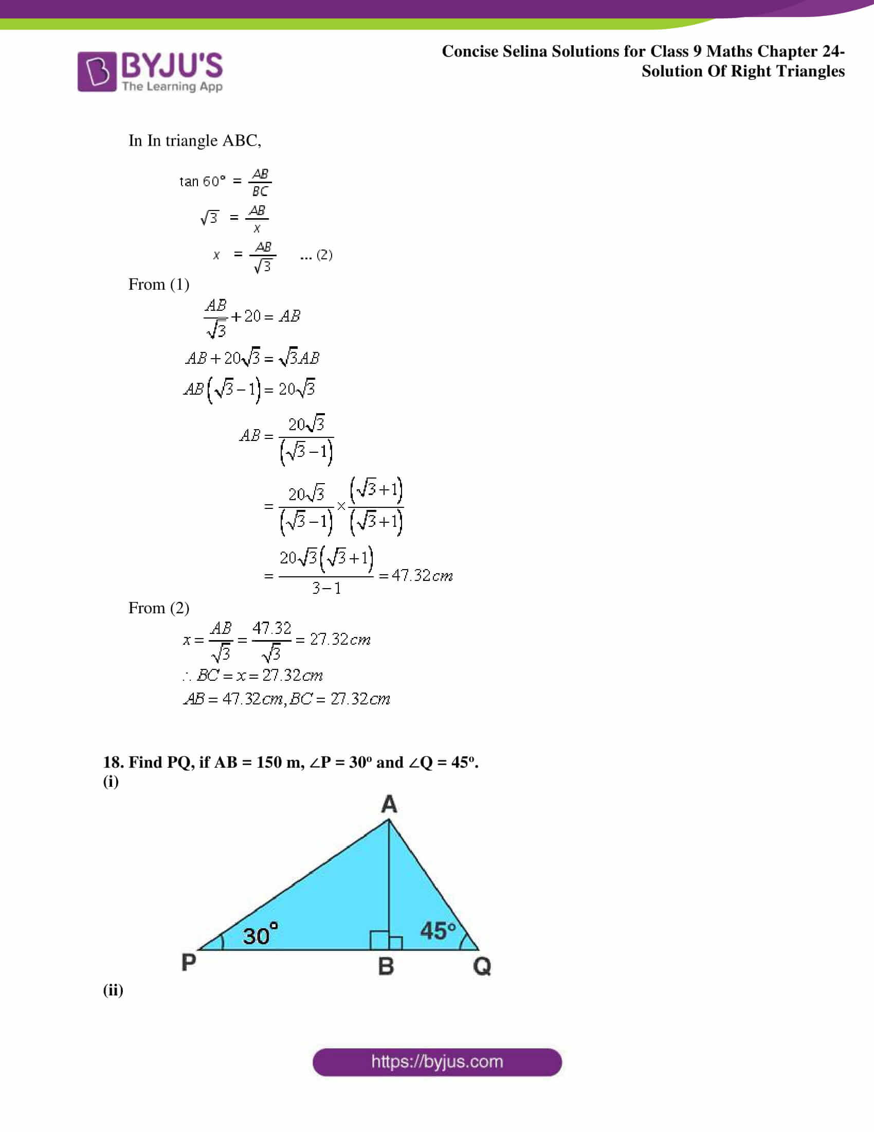 Concise Selina Solutions Class 9 Maths Chapter 24 Solution Of Right Triangles part 20