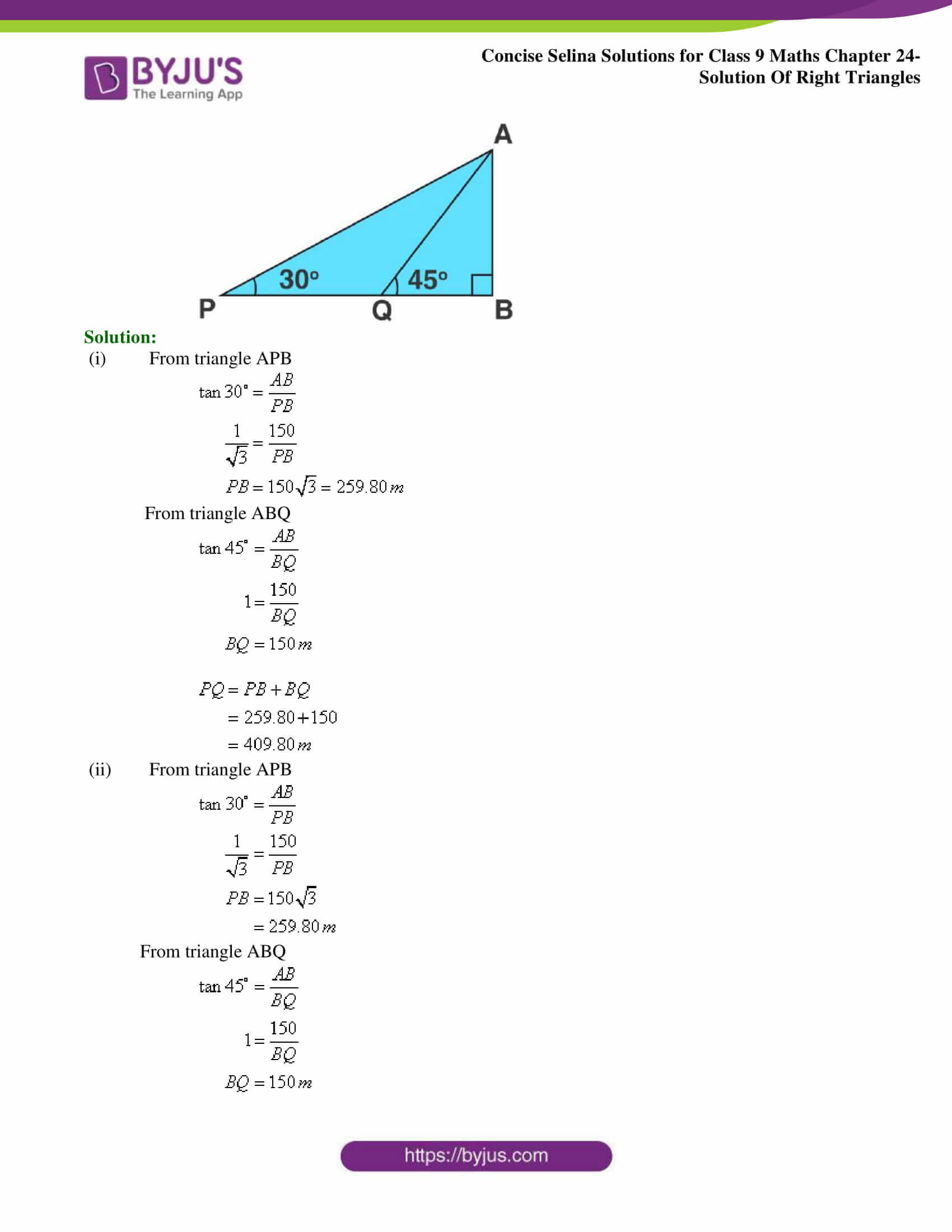 Concise Selina Solutions Class 9 Maths Chapter 24 Solution Of Right Triangles part 21