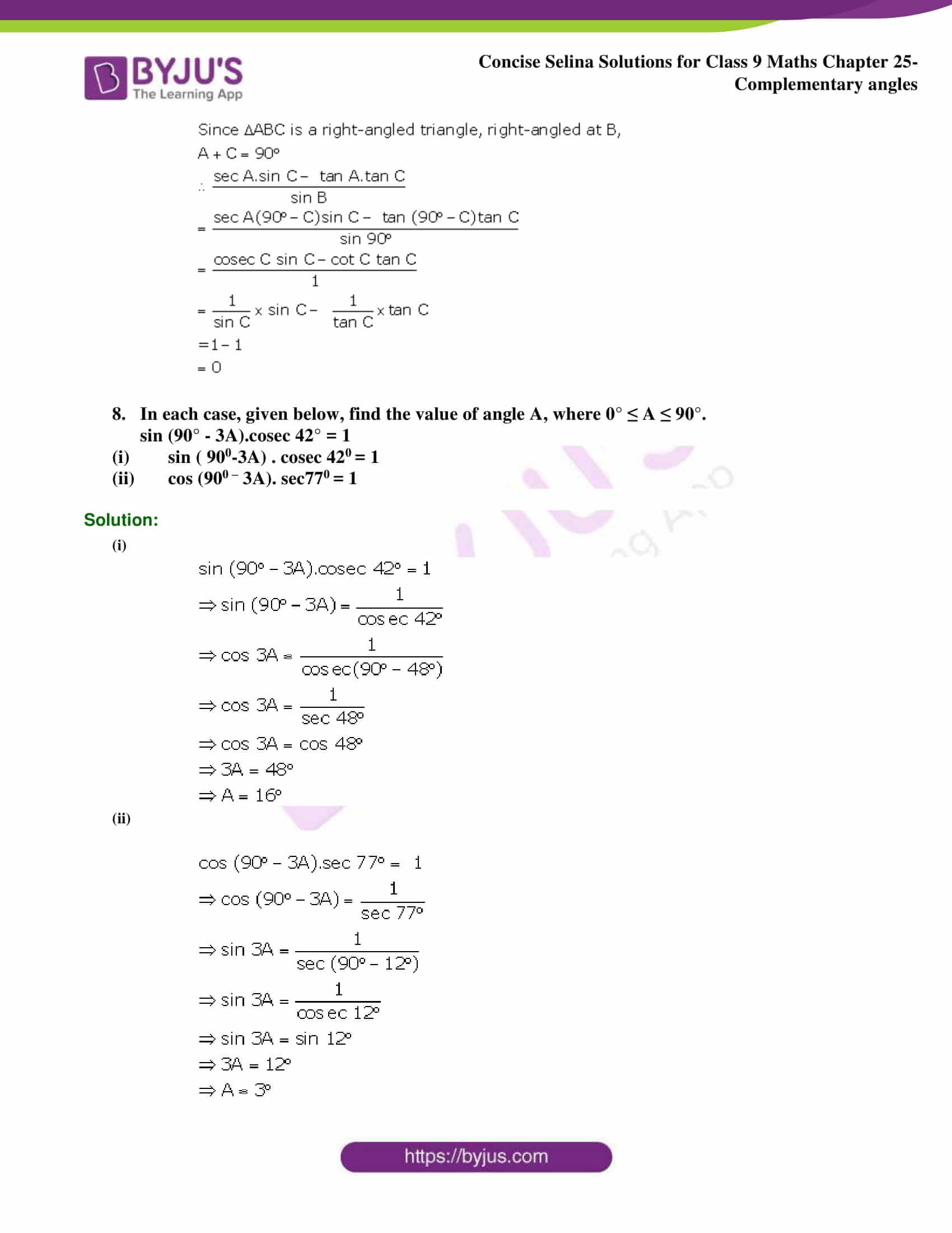 Concise Selina Solutions Class 9 Maths Chapter 25 Complementary Angles part 8