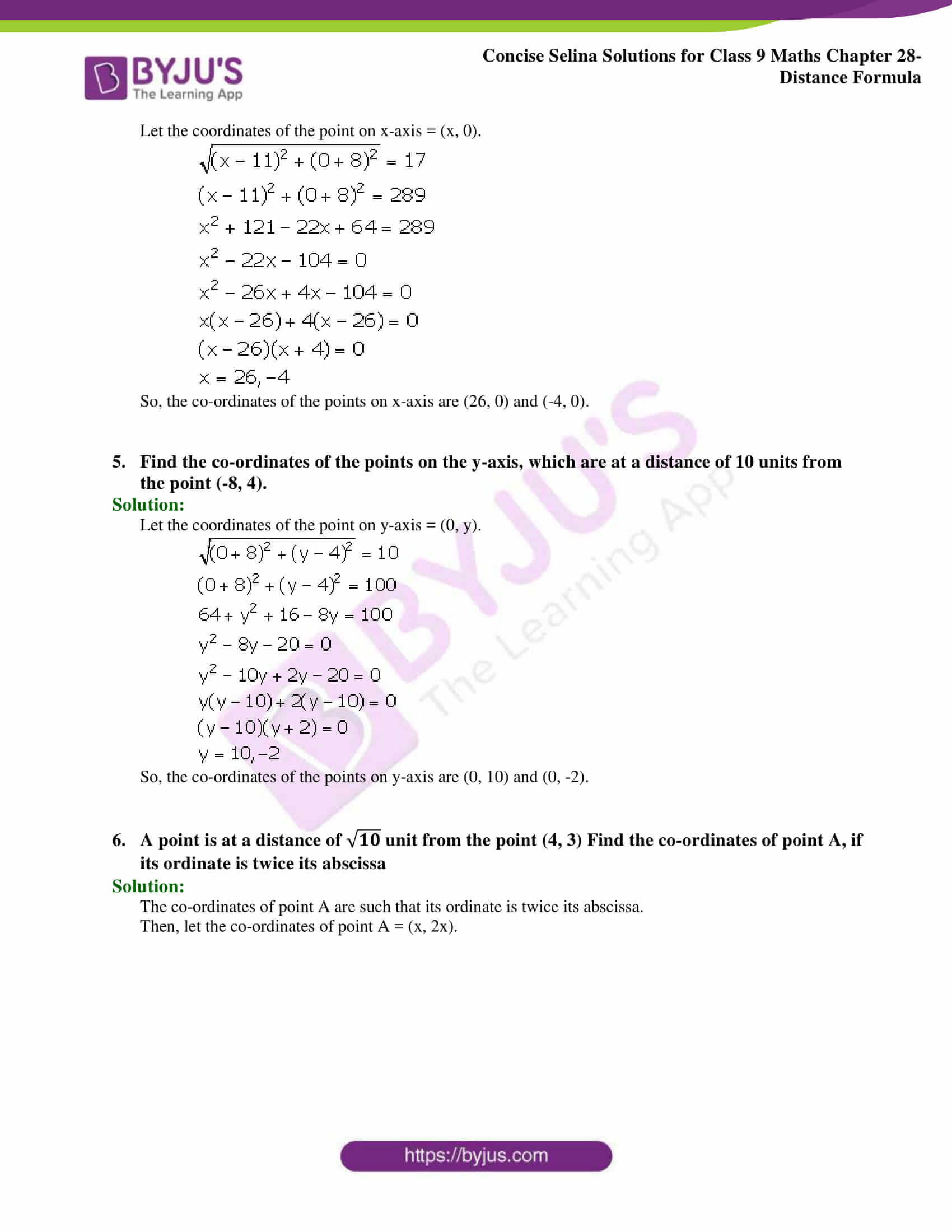 Concise Selina Solutions Class 9 Maths Chapter 28 Distance Formula part 03