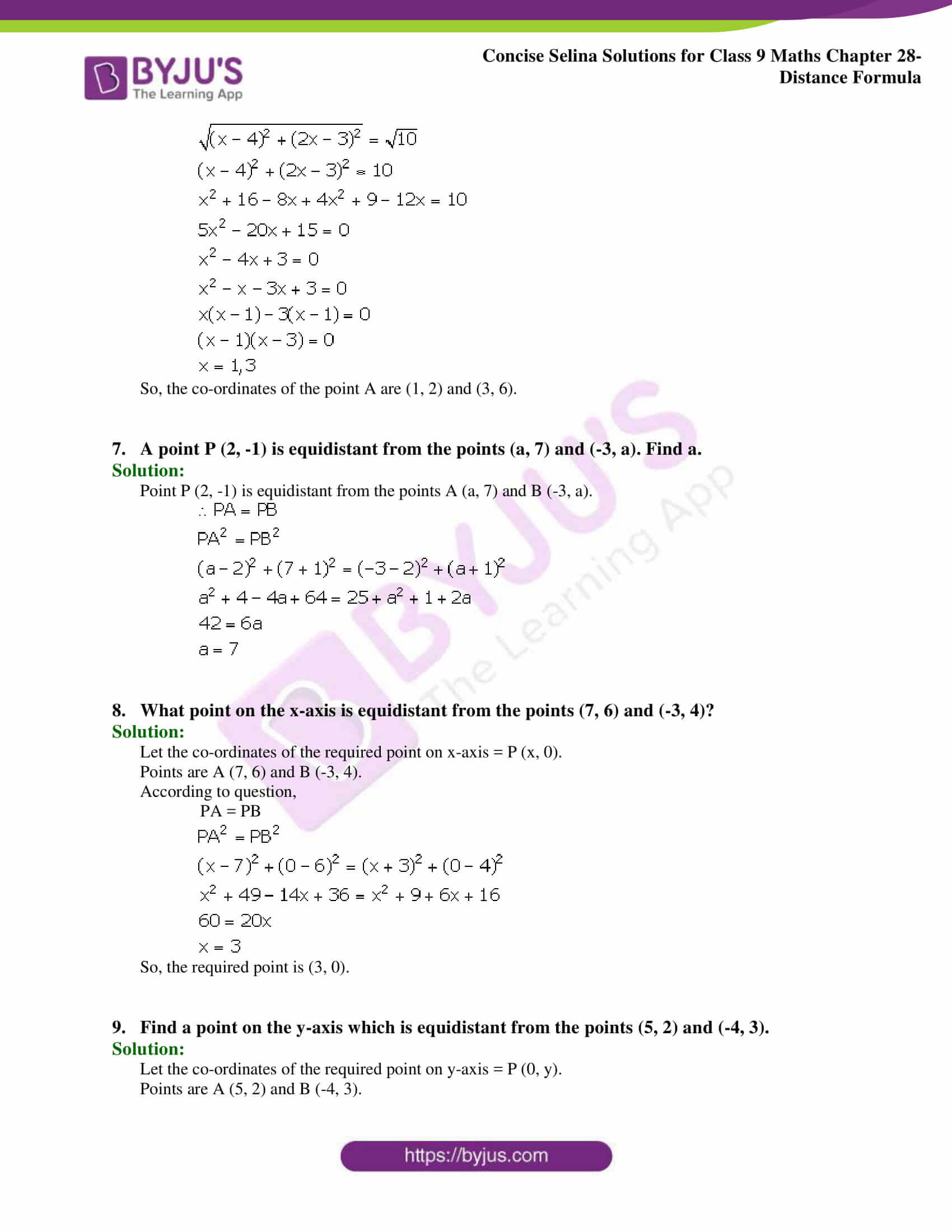 Concise Selina Solutions Class 9 Maths Chapter 28 Distance Formula part 04