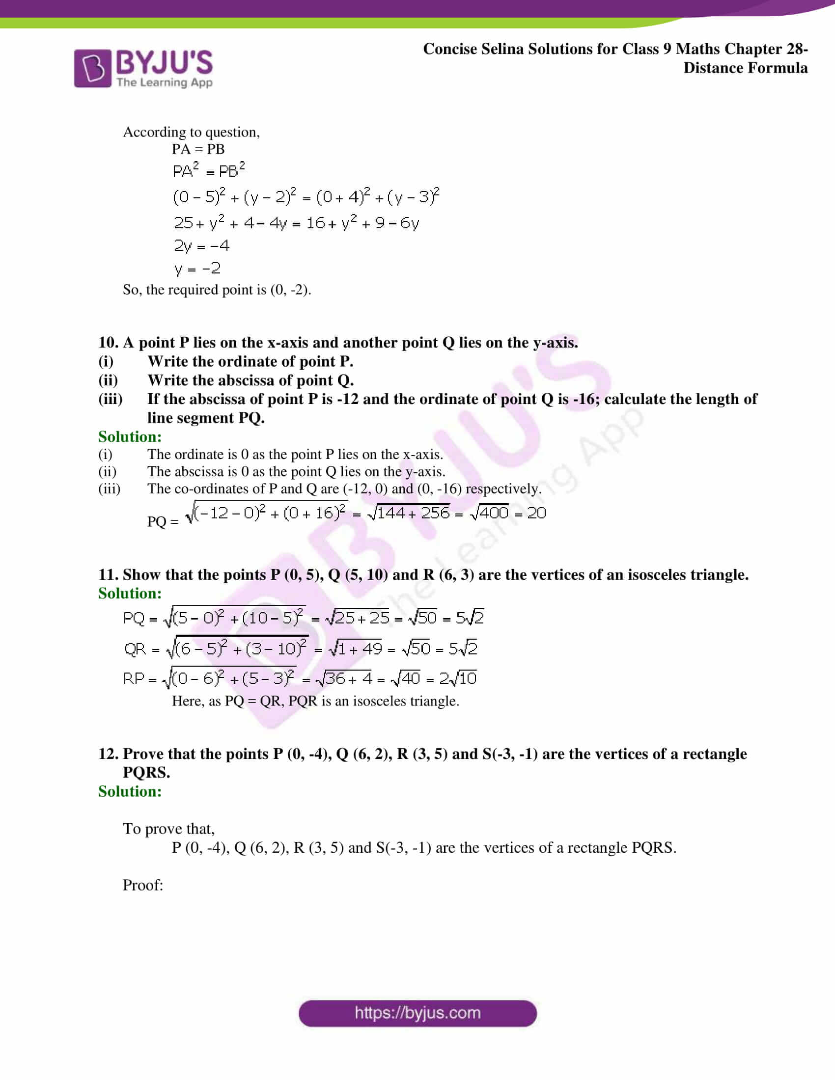 Concise Selina Solutions Class 9 Maths Chapter 28 Distance Formula part 05