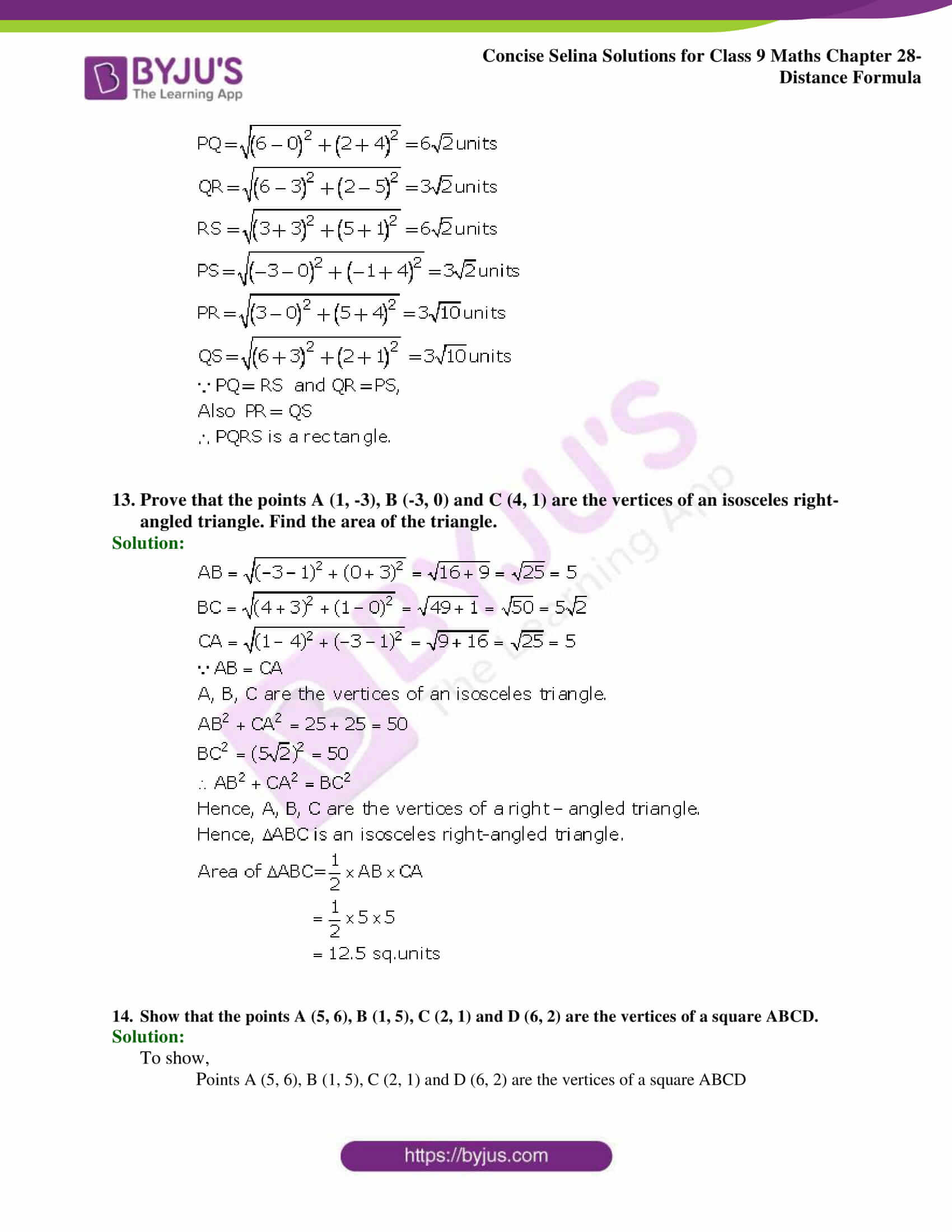 Concise Selina Solutions Class 9 Maths Chapter 28 Distance Formula part 06