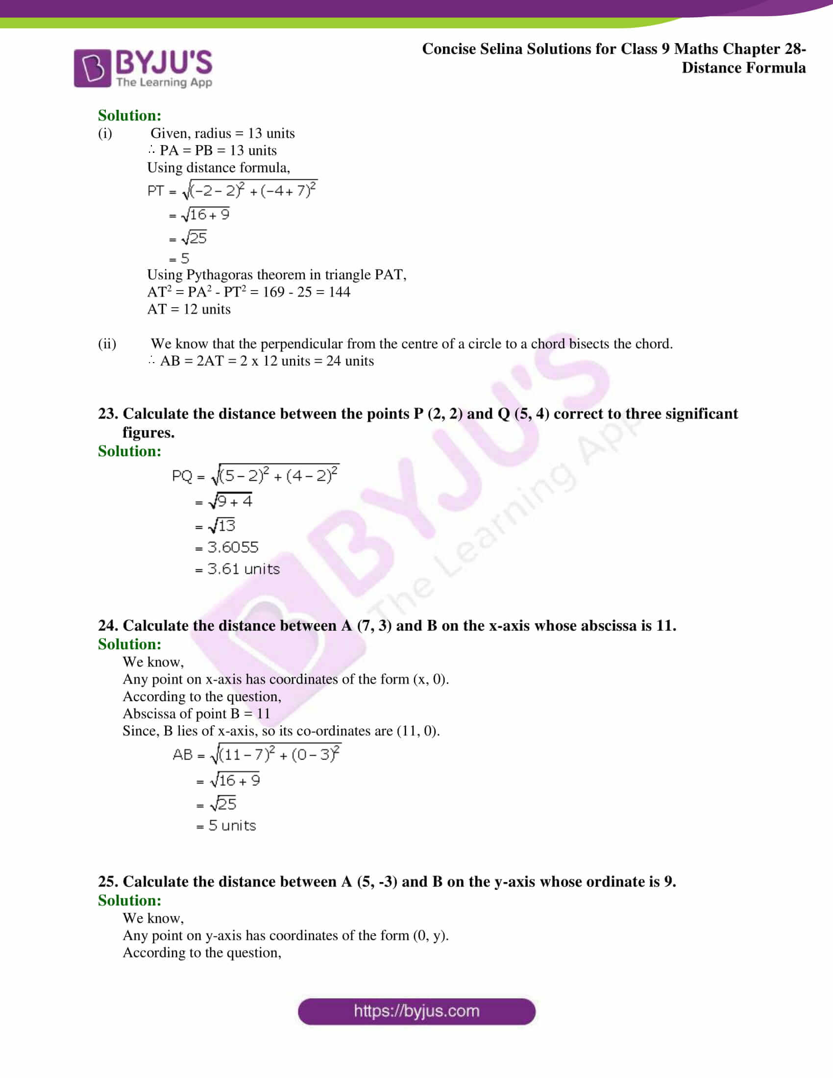 Concise Selina Solutions Class 9 Maths Chapter 28 Distance Formula part 10