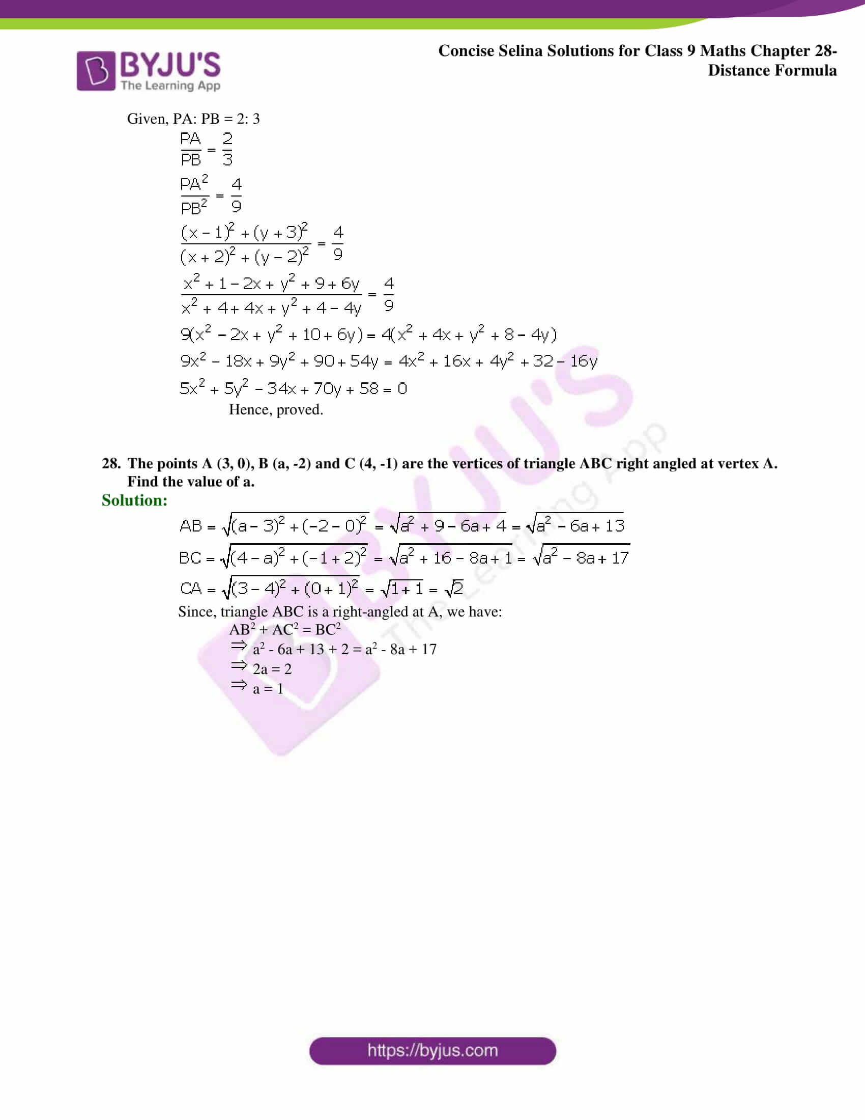 Concise Selina Solutions Class 9 Maths Chapter 28 Distance Formula part 12