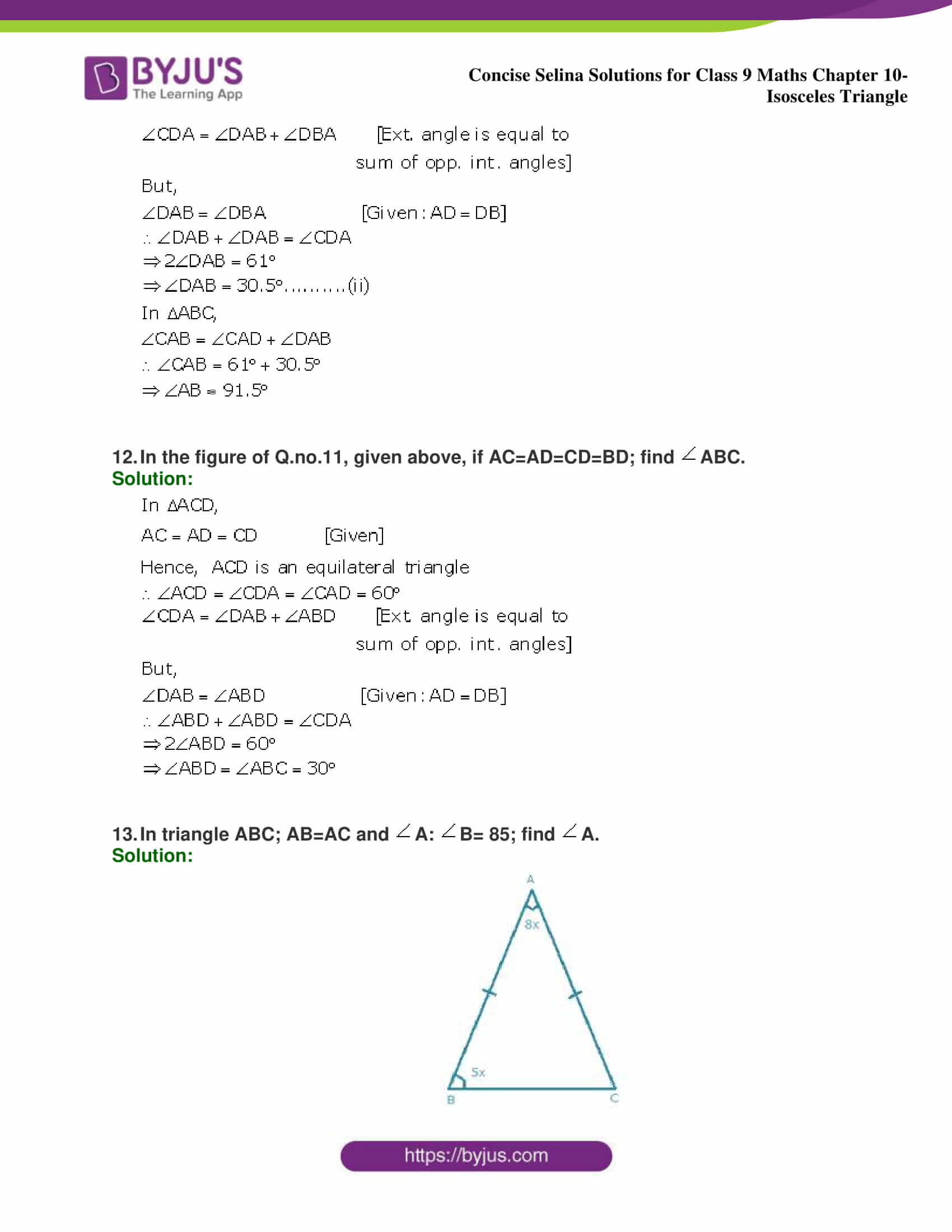 selina Solutions for Class 9 Maths Chapter 10 part 13
