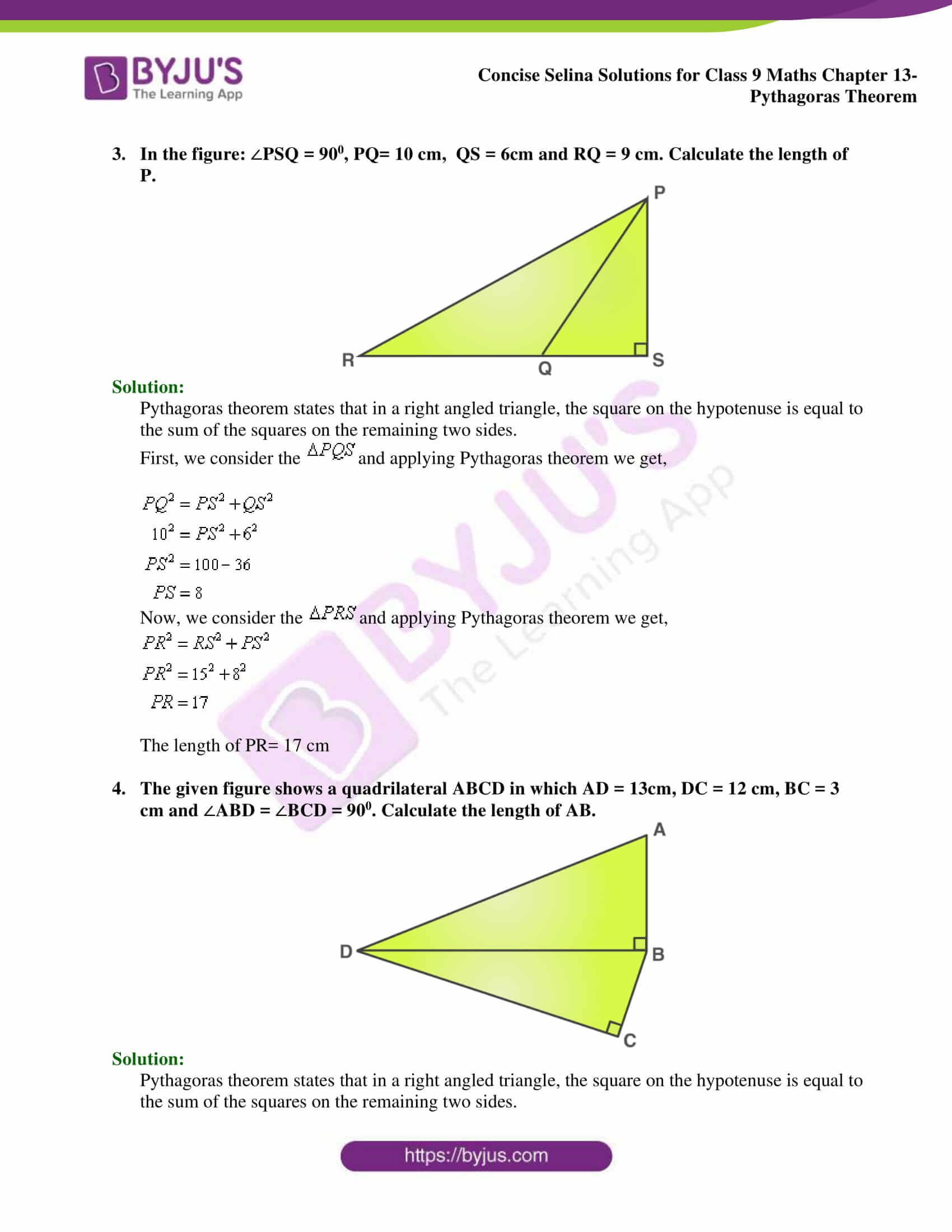 selina Solutions for Class 9 Maths Chapter 13 part 02