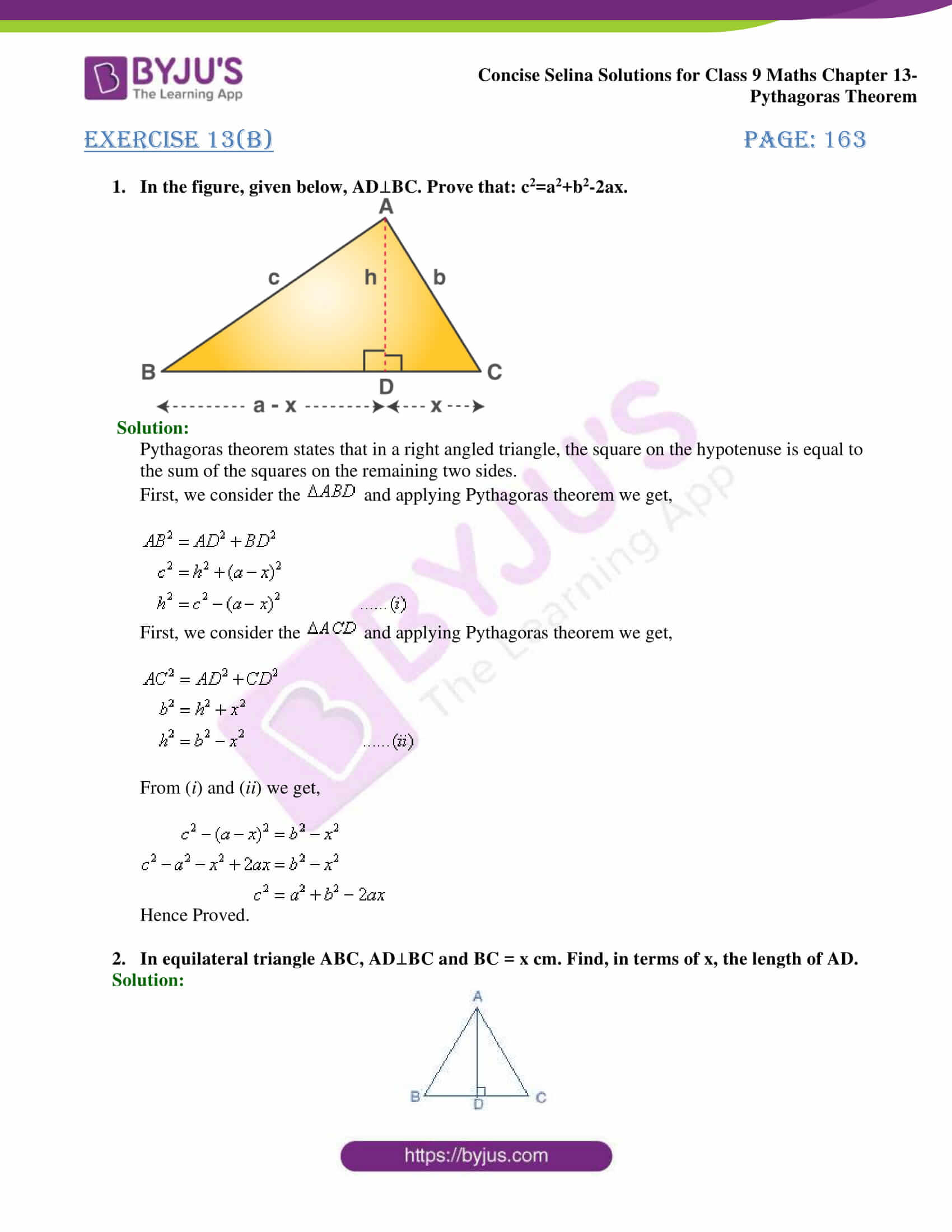 selina Solutions for Class 9 Maths Chapter 13 part 10