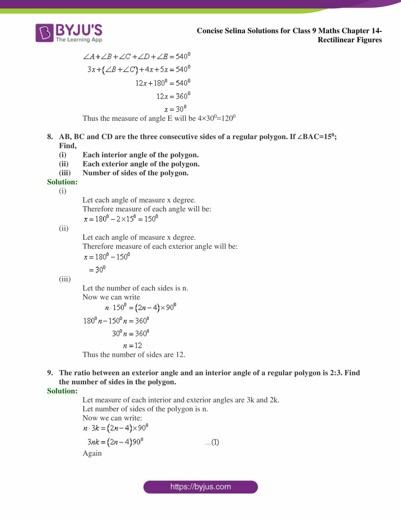 selina Solutions for Class 9 Maths Chapter 14 part 03