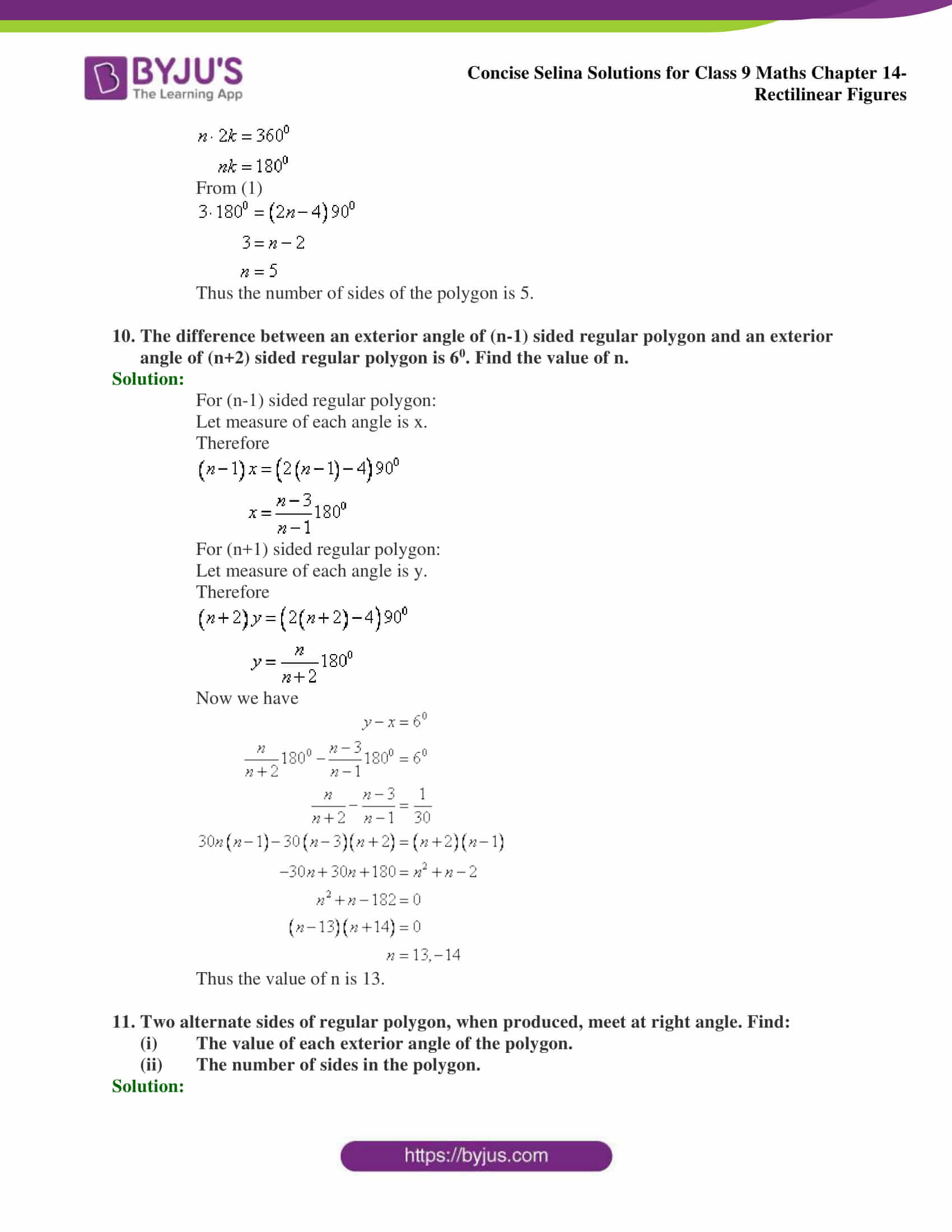 selina Solutions for Class 9 Maths Chapter 14 part 04