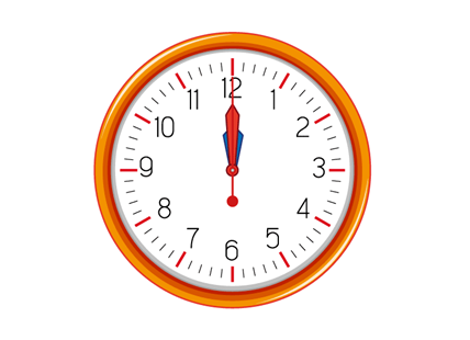 A first collision of the hands in a clock at midnight