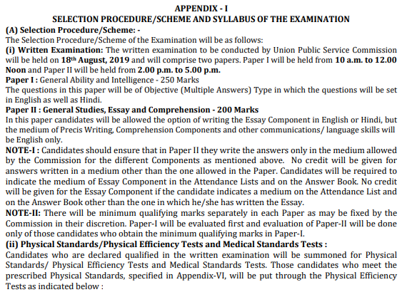 CAPF Syllabus And Exam pattern