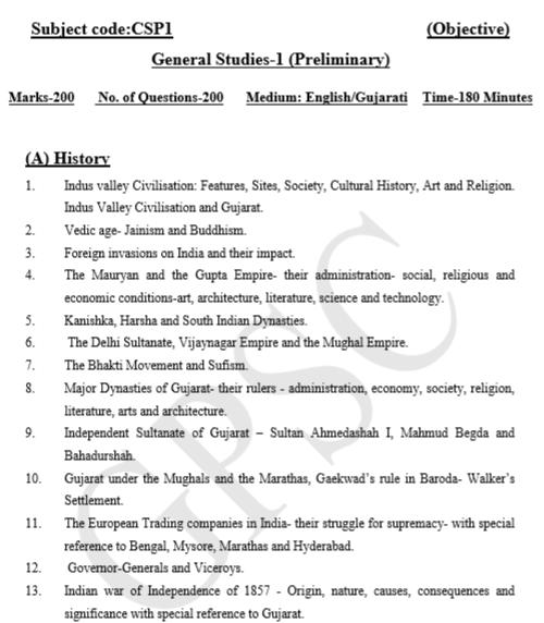 GPSC Syllabus - GS - Paper 1 Prelims (1)