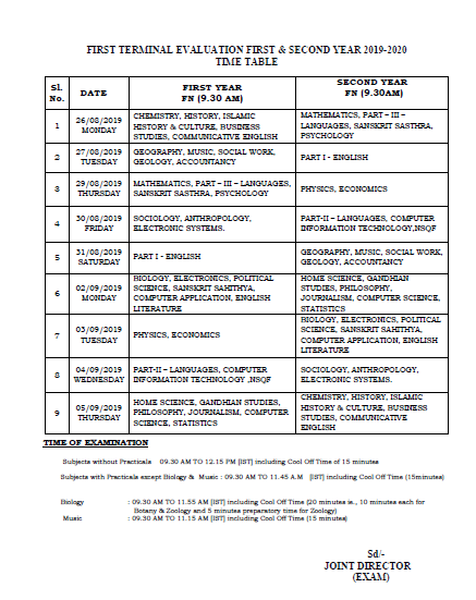 Kerala Board First Terminal Evaluation 1st & 2nd Year Time Table 2019-2020