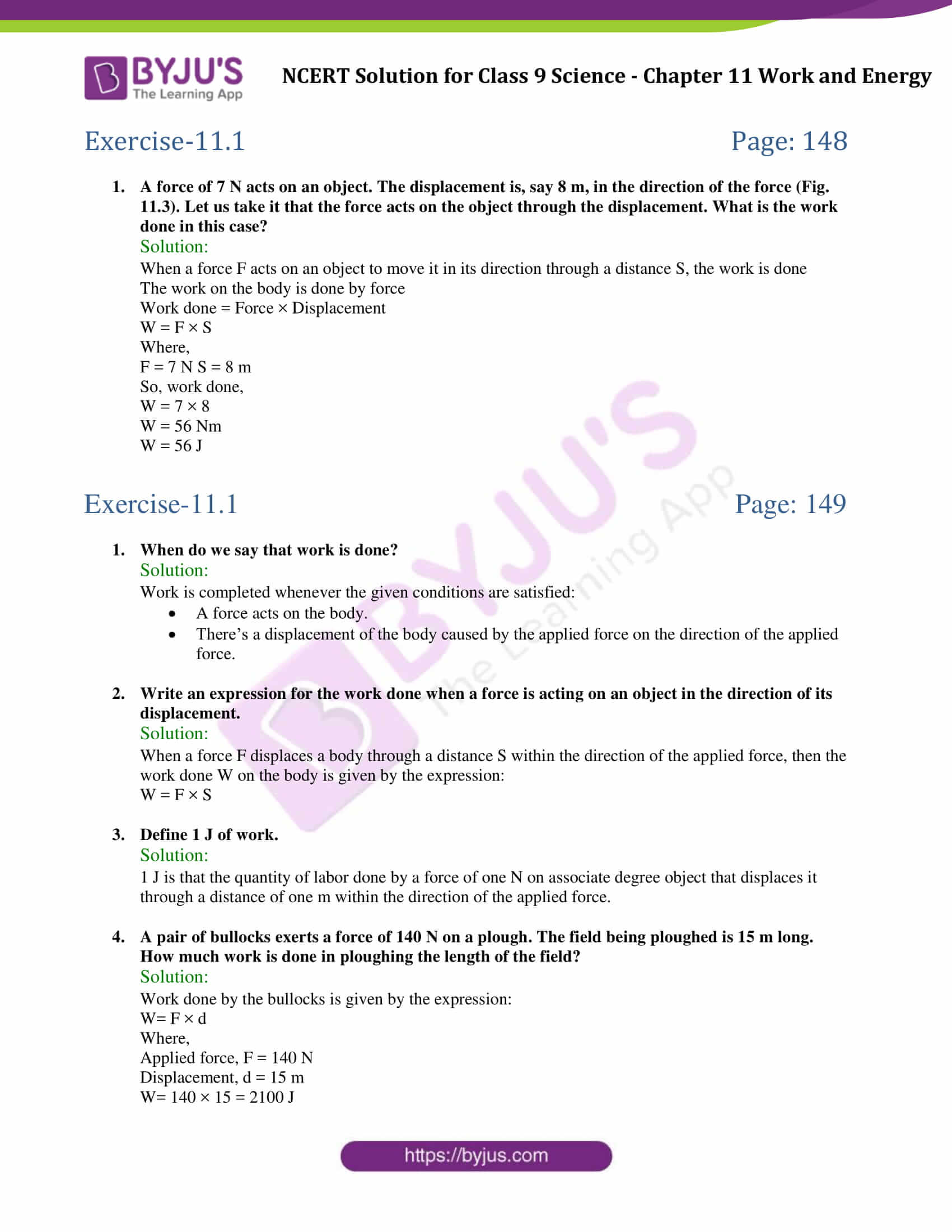 NCERT Solutions Class 9 Science Chapter 11 Work And Energy