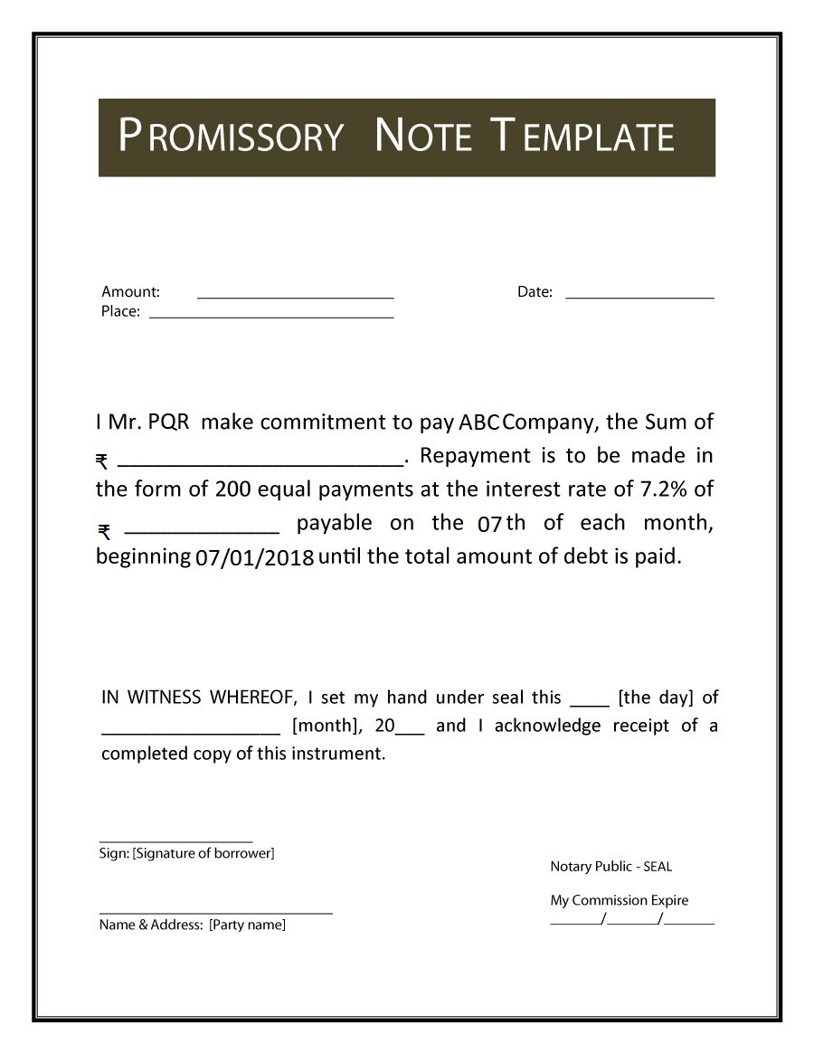 Promissory Note: meaning, format, example, types, features