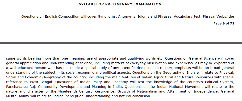 WBCS Syllabus 2019- Combined Competitive Exam Pattern