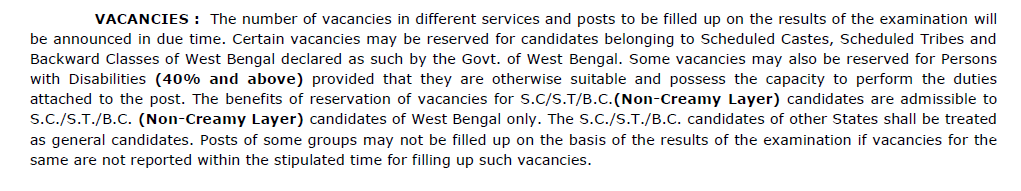 WBPSC Notification- Vacancy