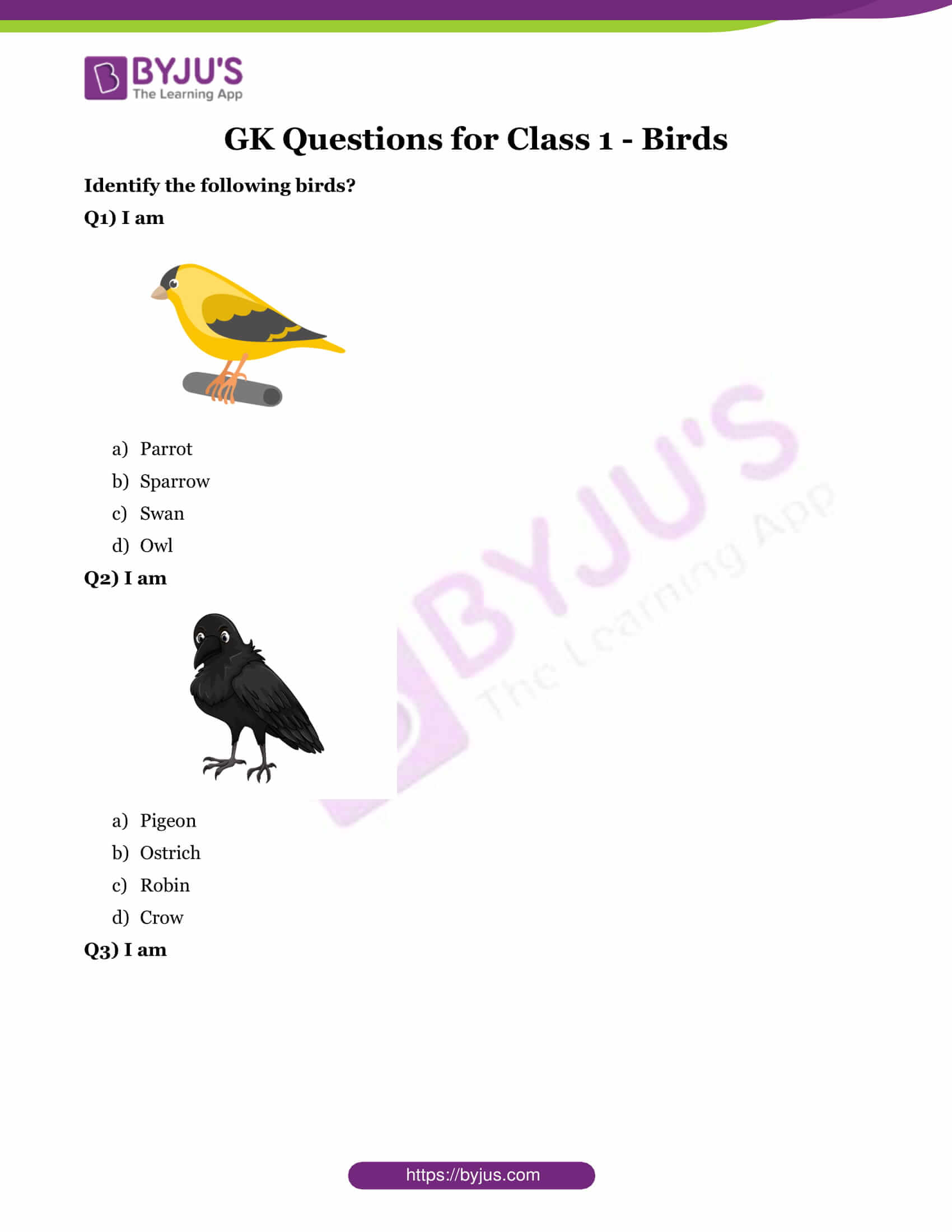 GK Questions for Class 1 - Birds