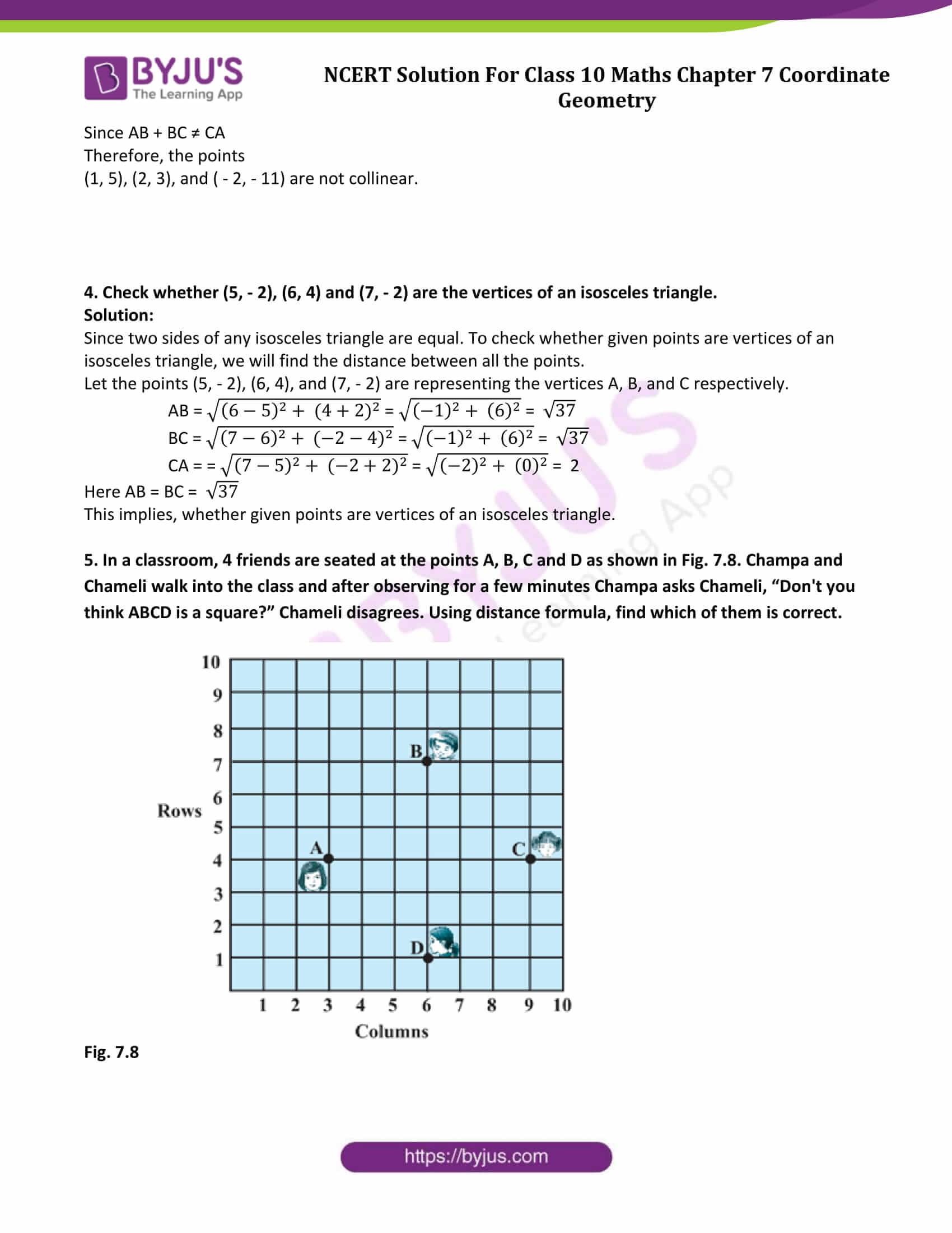 NCERT Solutions Class 10 Maths Chapter 7 Coordinate Geometry