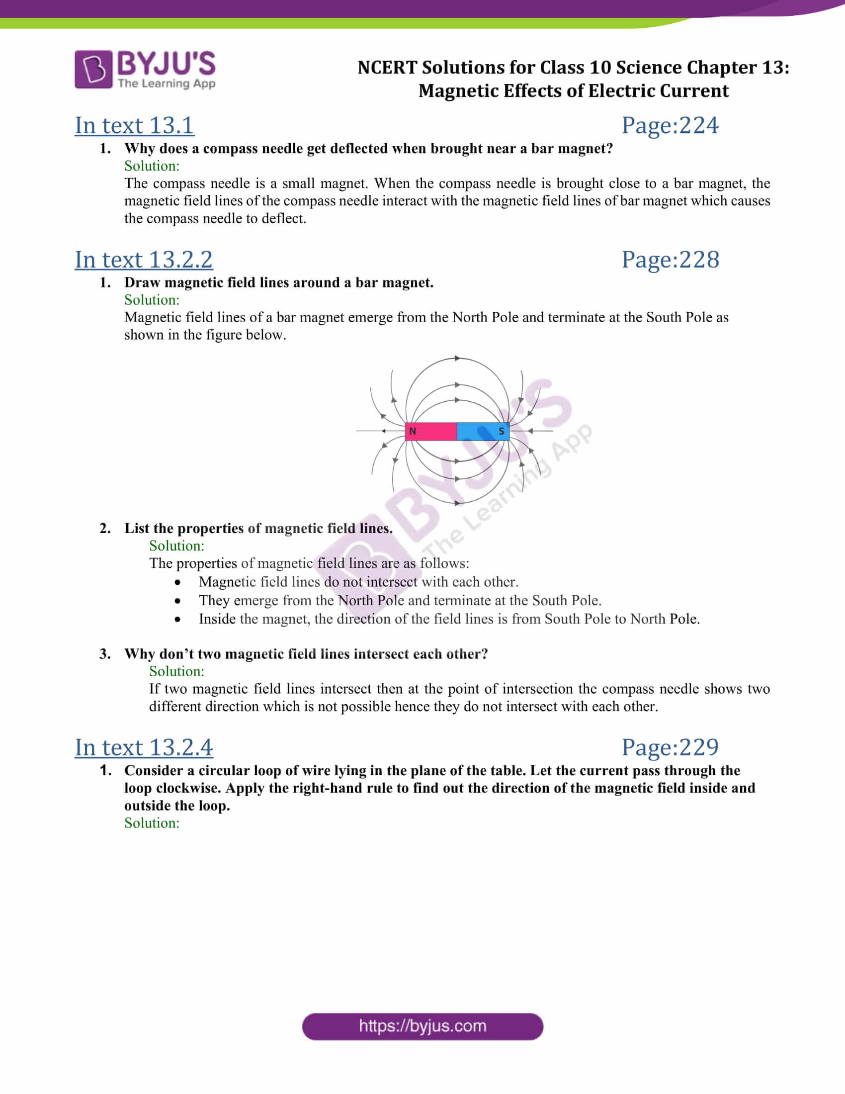 NCERT Solutions Class 10 Science Chapter 13 Magnetic Effects