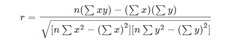 Pearson Correlation Coefficient Formula