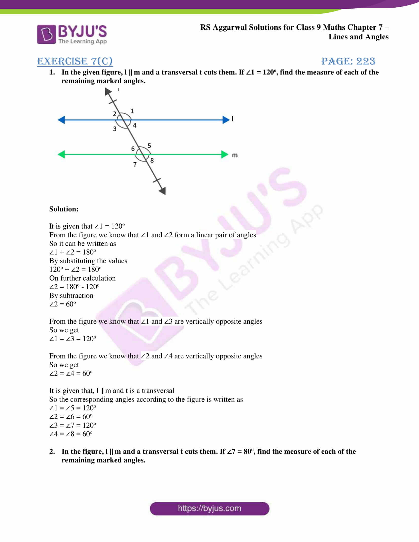 RS Aggarwal Solutions for Class 9 Chapter 7: Lines and Angles