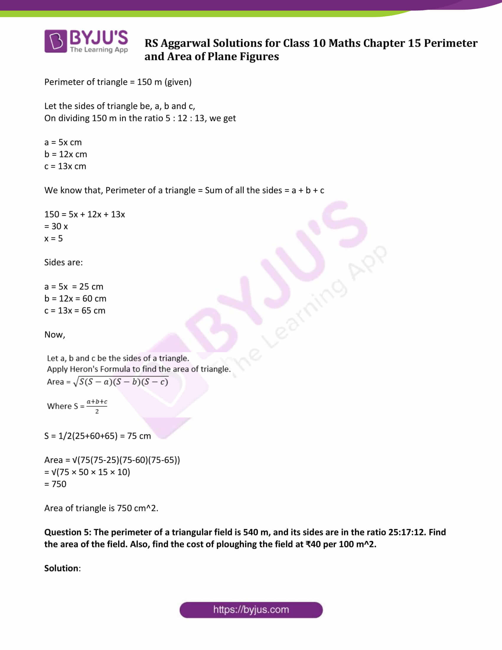 rs aggarwal sol class 10 maths chapter 15
