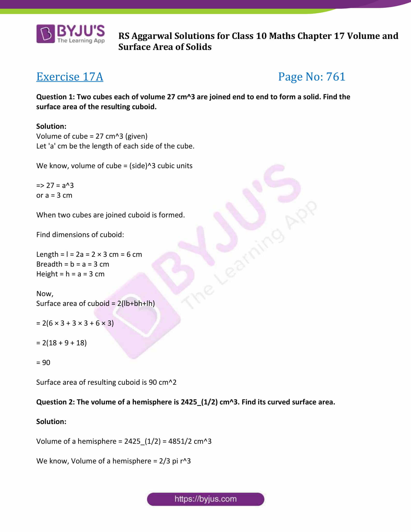 rs aggarwal sol class 10 maths chapter 17a