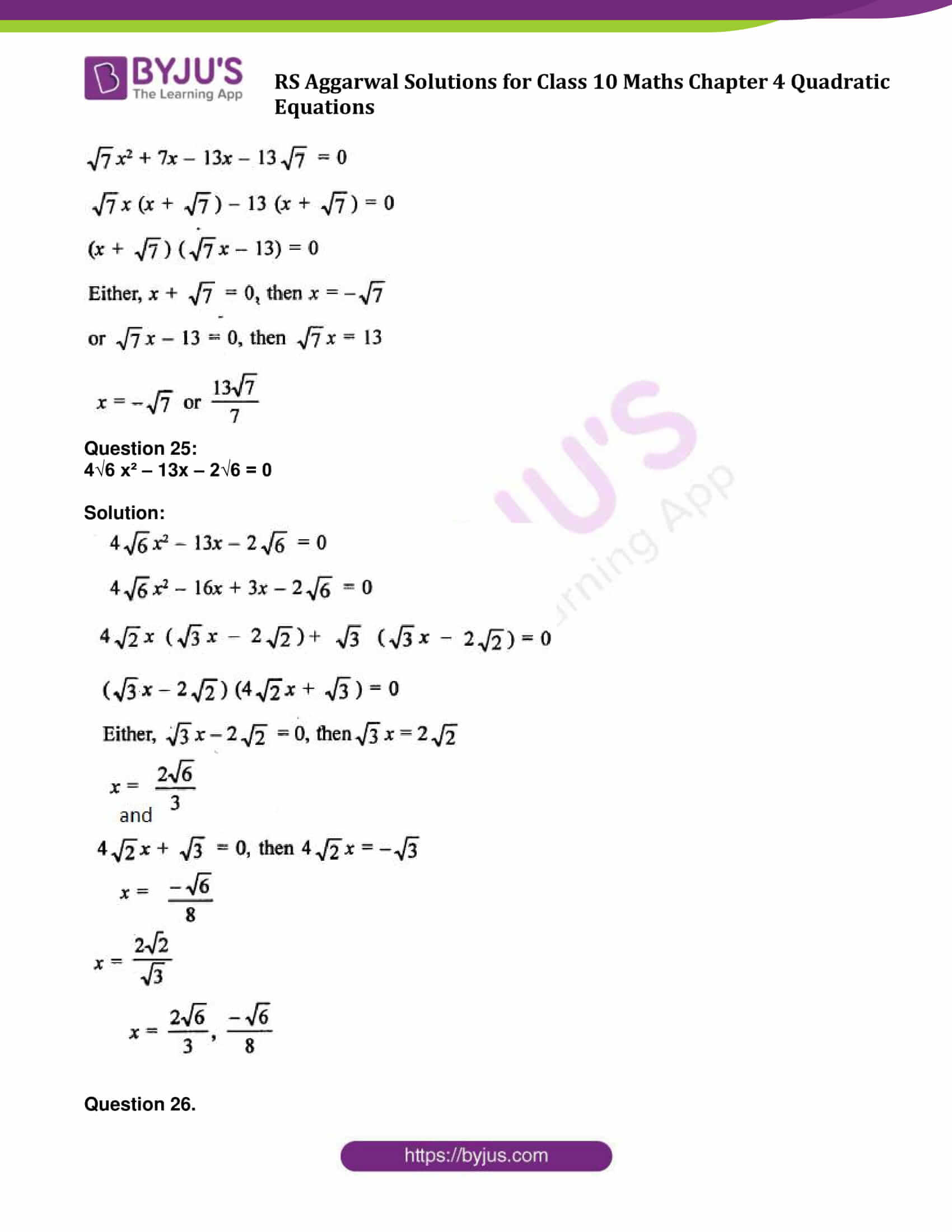 RS Aggarwal Sol class 10 Maths Chapter 4A
