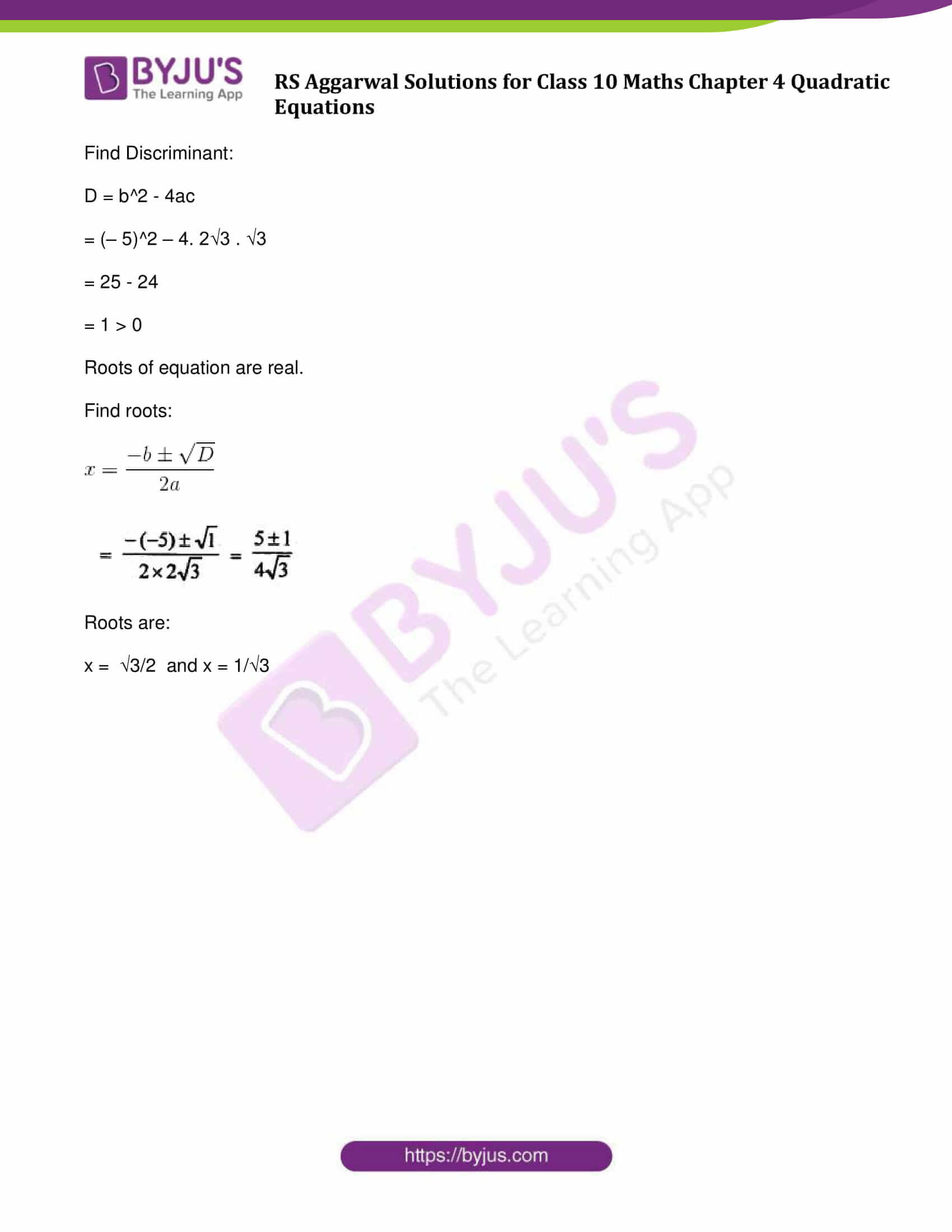 RS Aggarwal Sol class 10 Maths Chapter 4C
