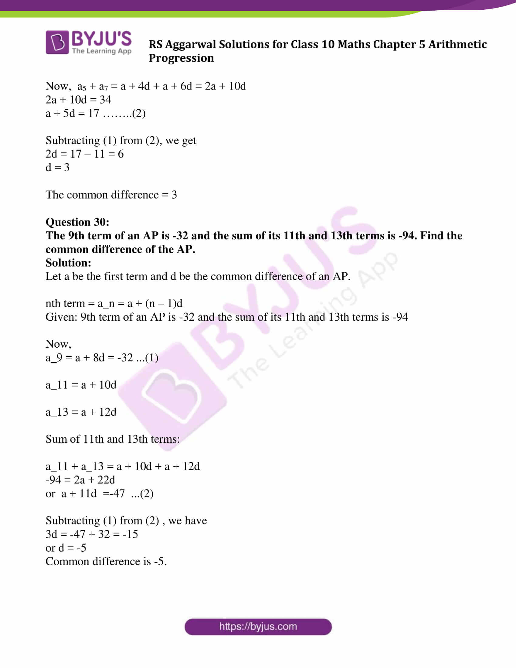 RS Aggarwal Sol class 10 Maths Chapter 5A