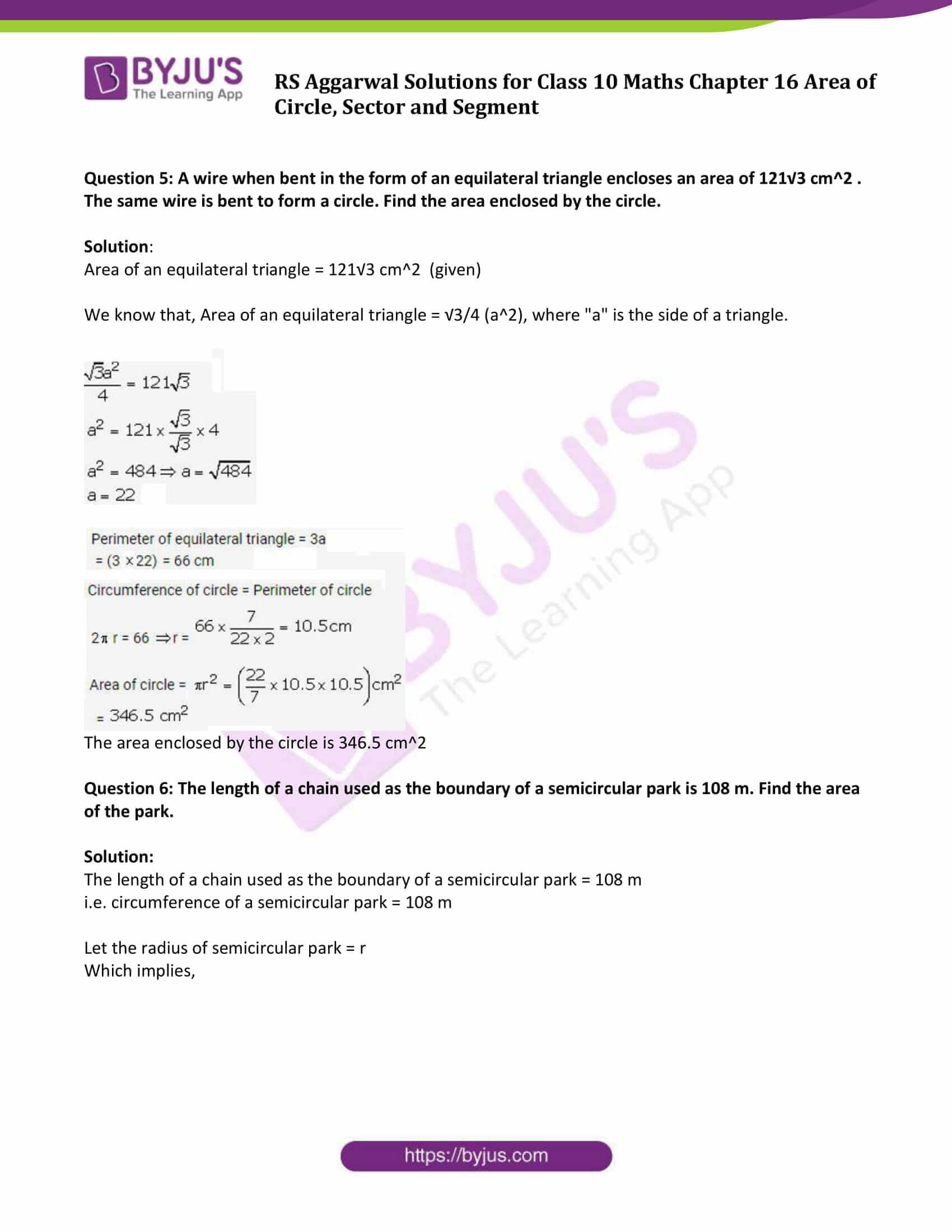 RS Aggarwal Sol class 10 Maths Chapter 16