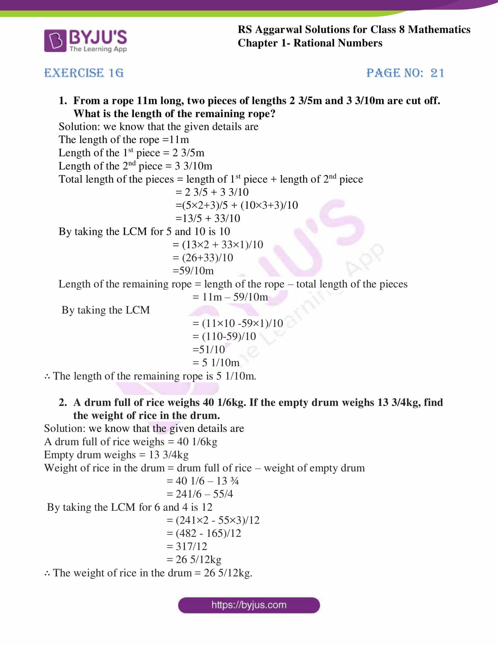 rs aggarwal solutions class 8 maths chapter 1g