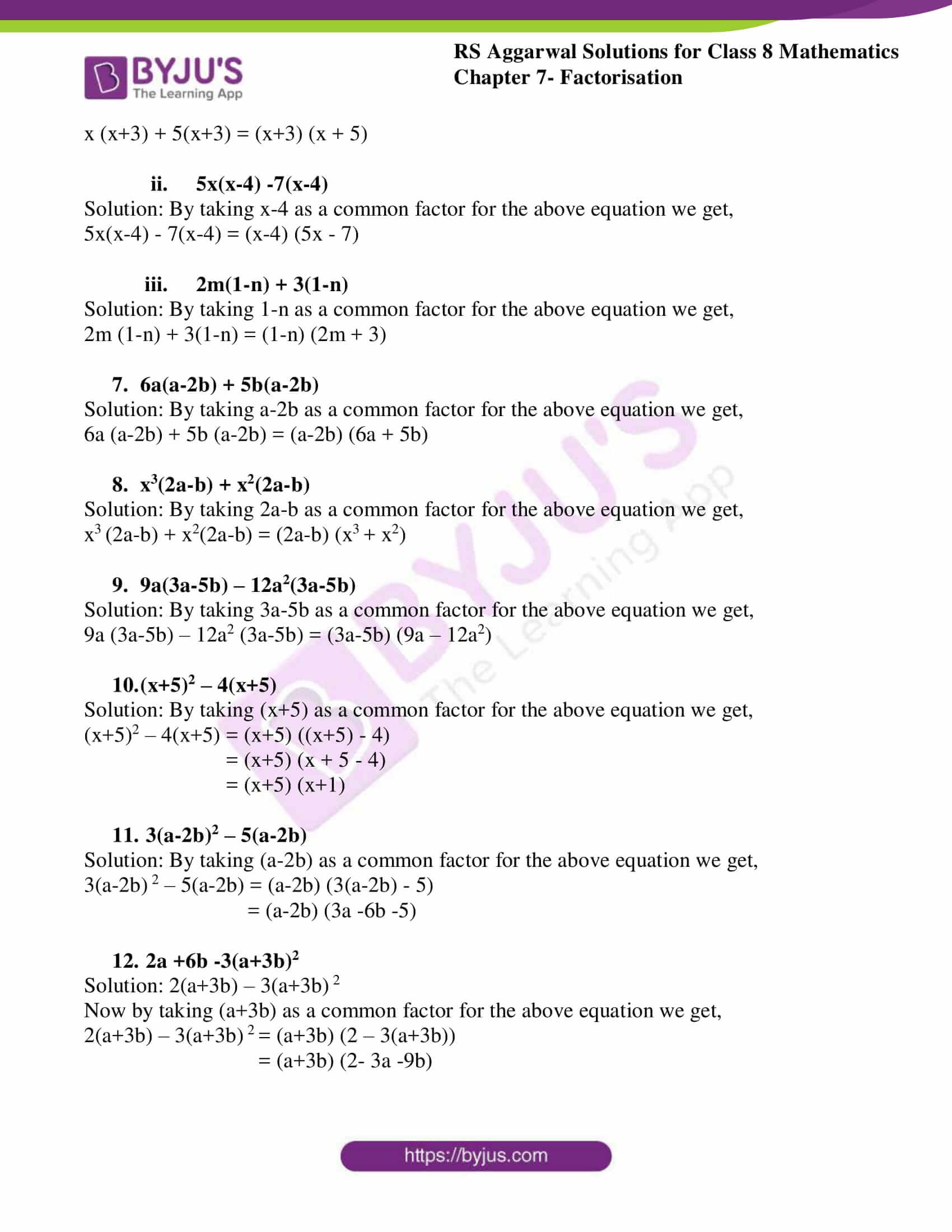 rs aggarwal solutions class 8 maths chapter 7a