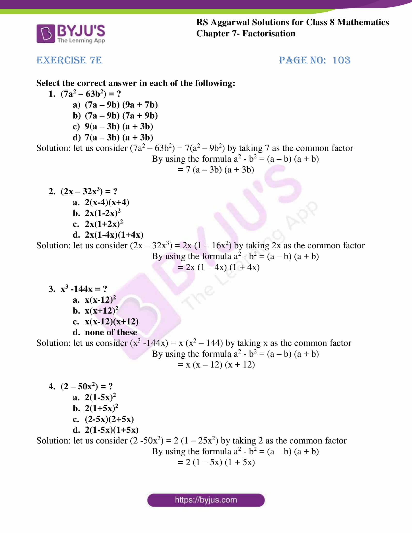 rs aggarwal solutions class 8 maths chapter 7e