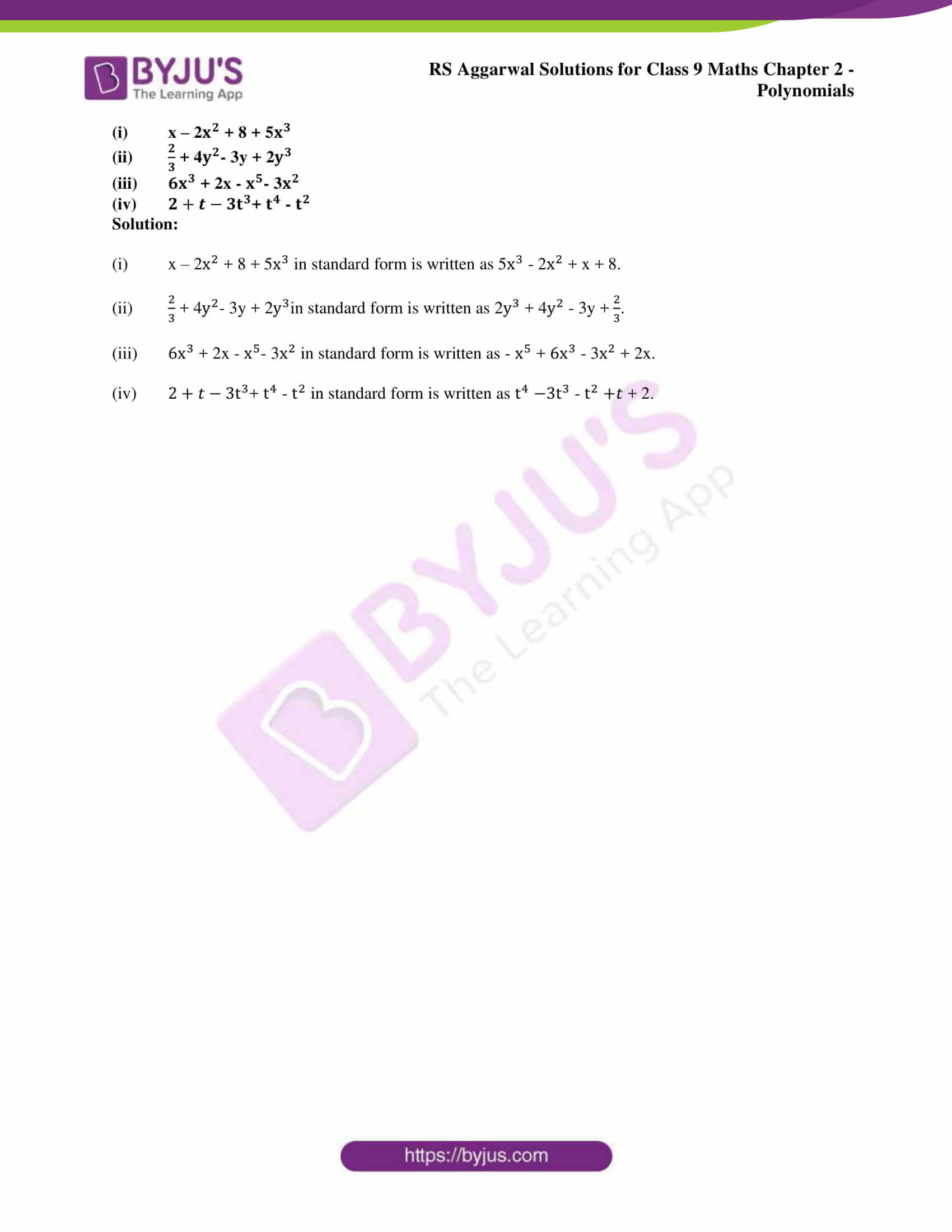 RS Aggarwal Sol class 9 Maths Chapter 2