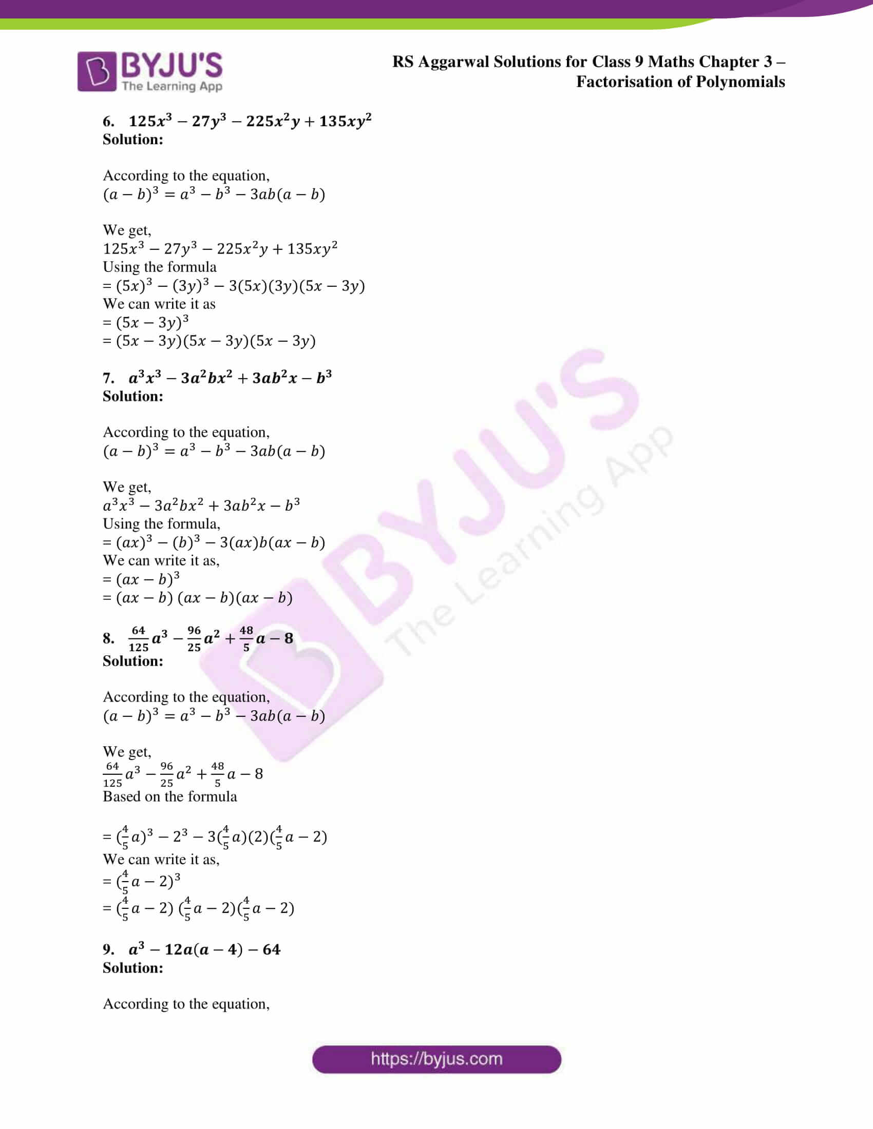 RS Aggarwal Sol class 9 Maths Chapter 3