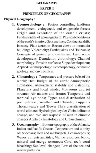 UPSC Geography Optional Syllabus Paper-I 1