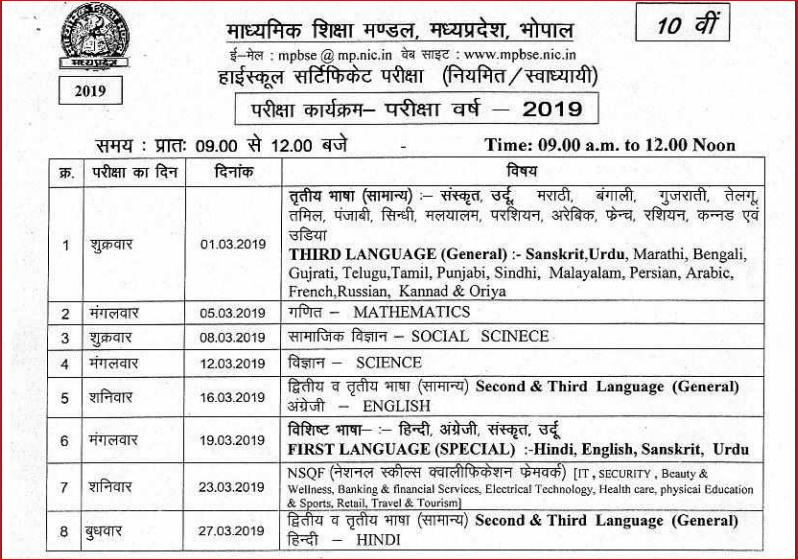 MP Board Class 10 Exam Date- Sheet